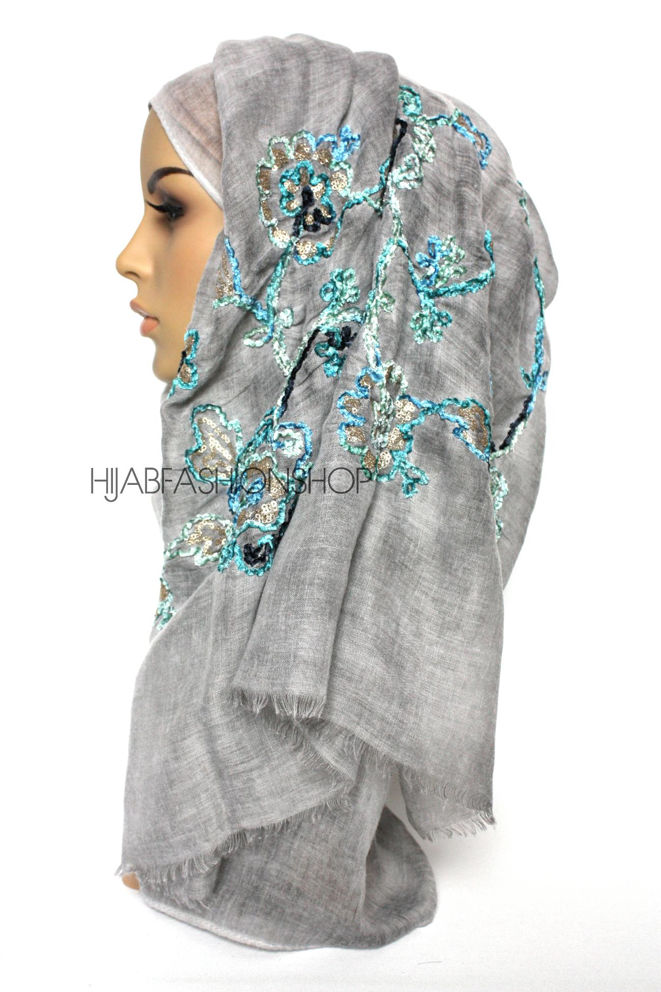 grey linen look hijab with floral velvet embroidery and sequins side view
