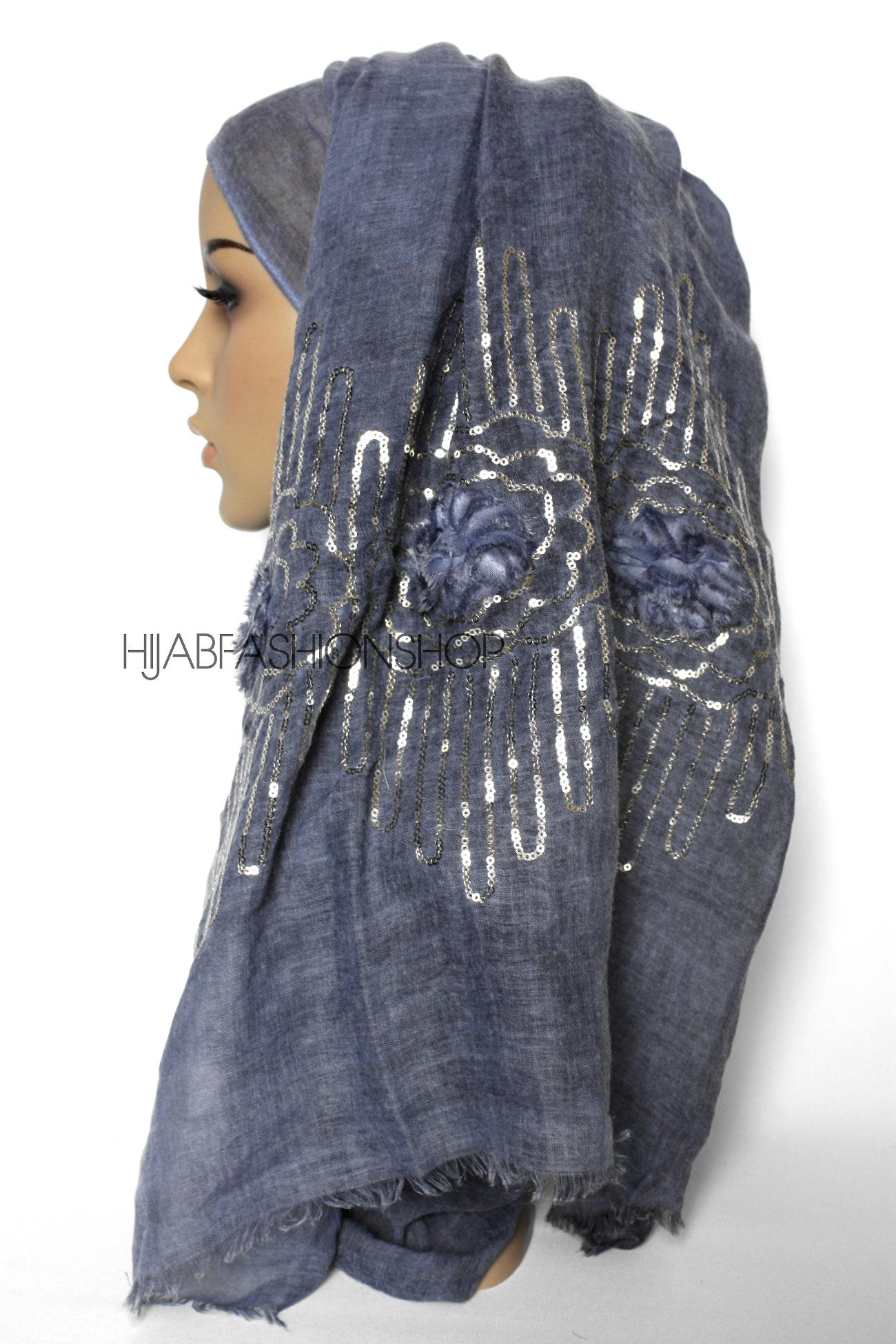 denim linen look hijab with frayed flower detail and gold sequins