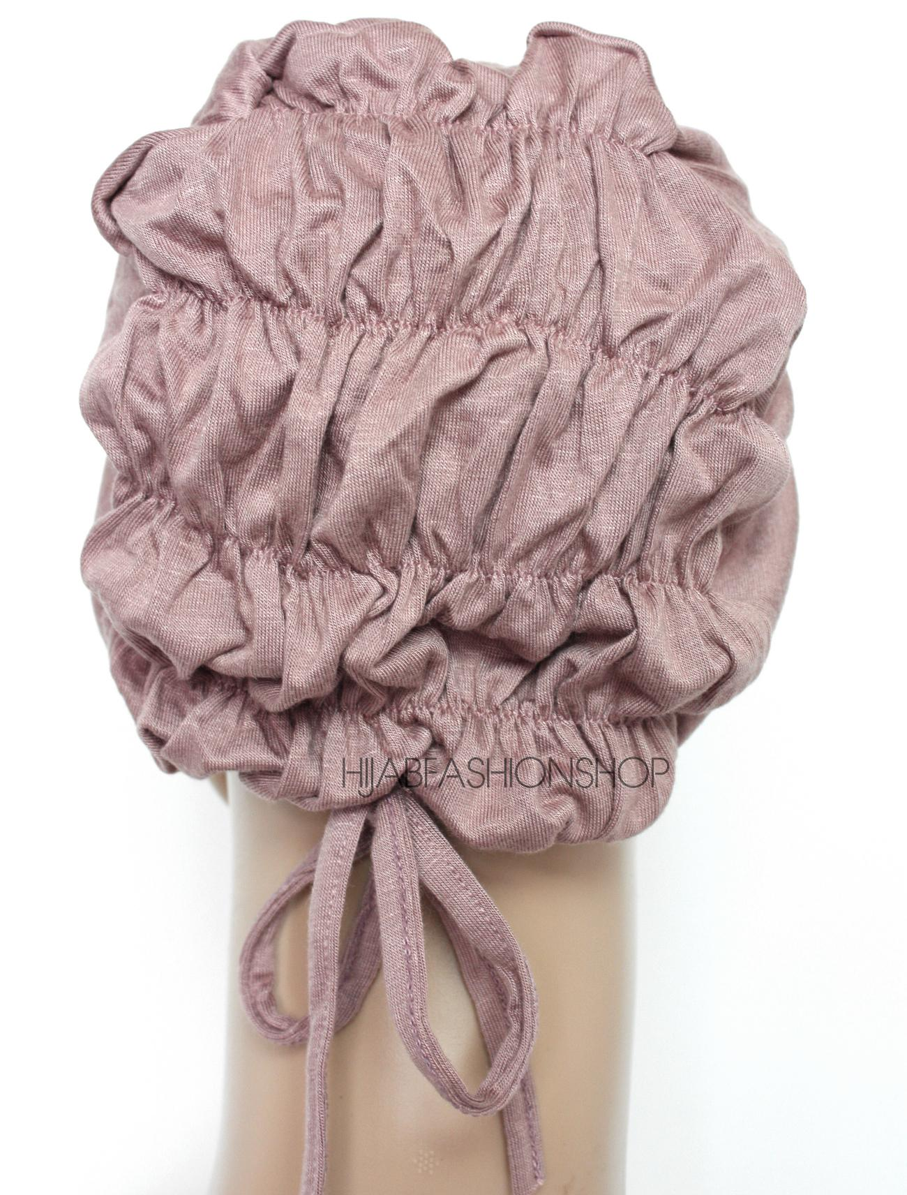 nude rose ruched back string bonnet back view