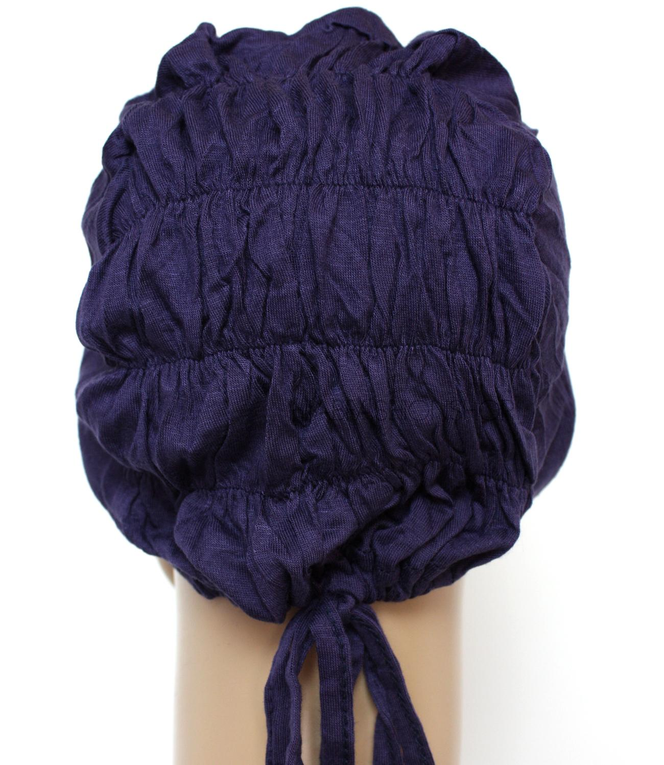navy ruched back string bonnet back view