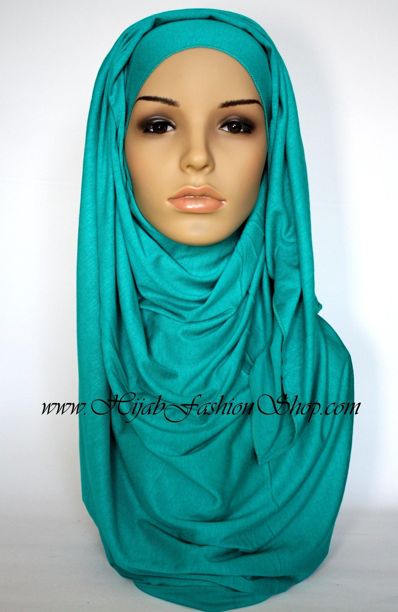 light teal plain jersey hijab