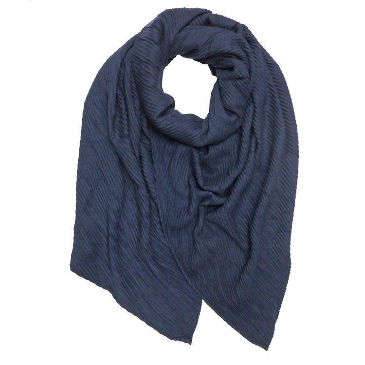 navy thick pleated hijab