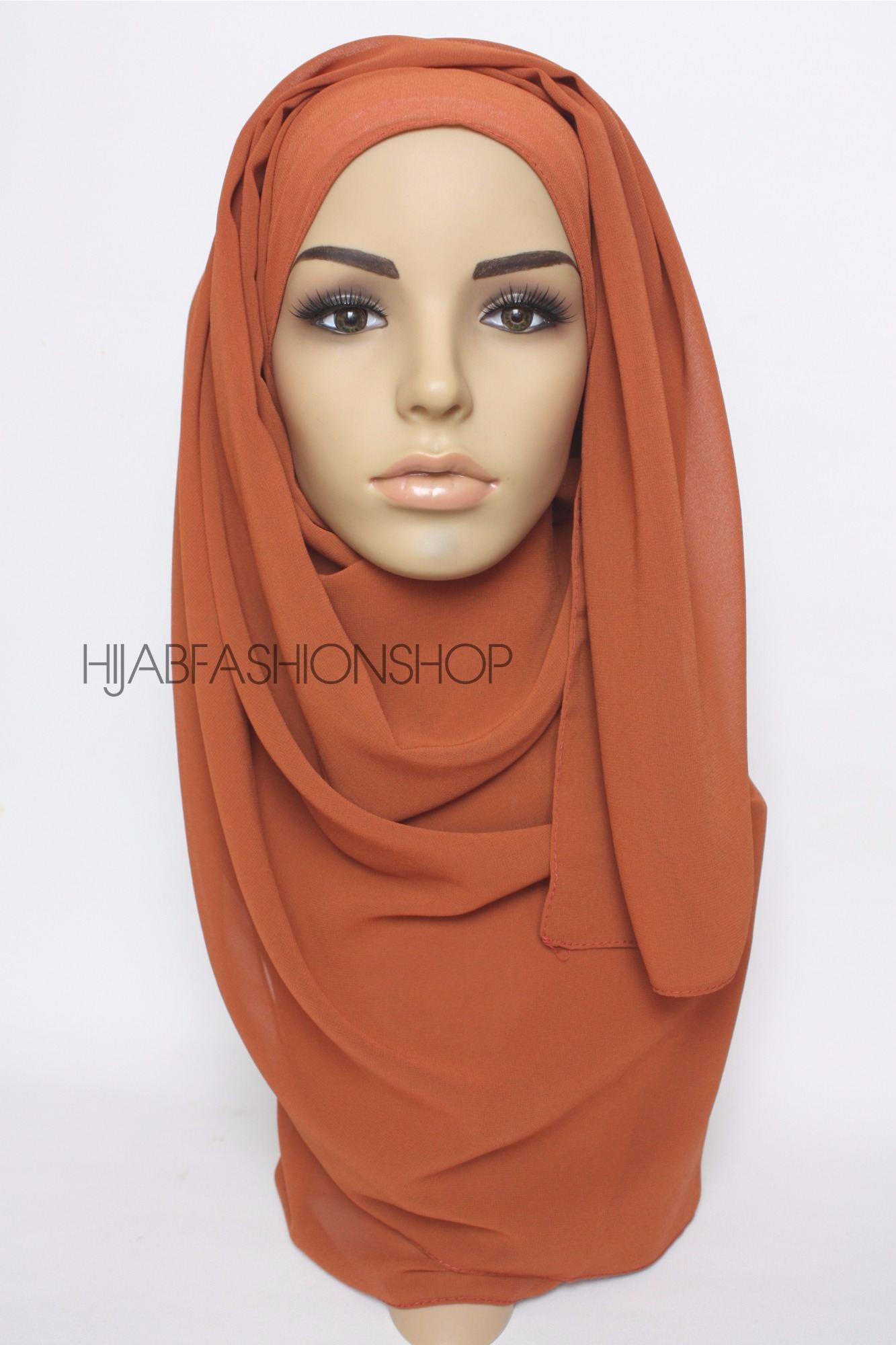 burnt orange crepe chiffon hijab