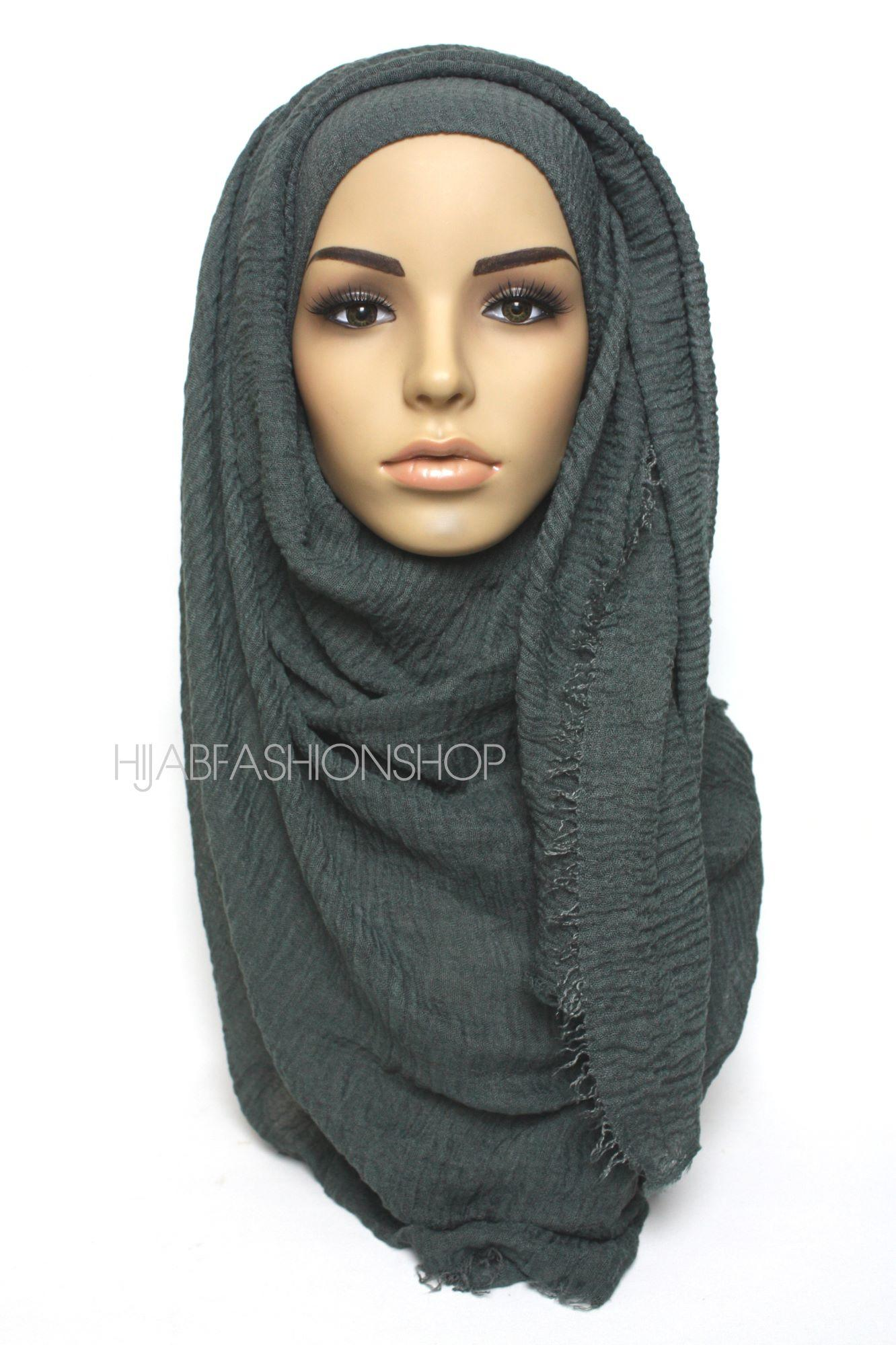 slate grey crimp crinkle hijab