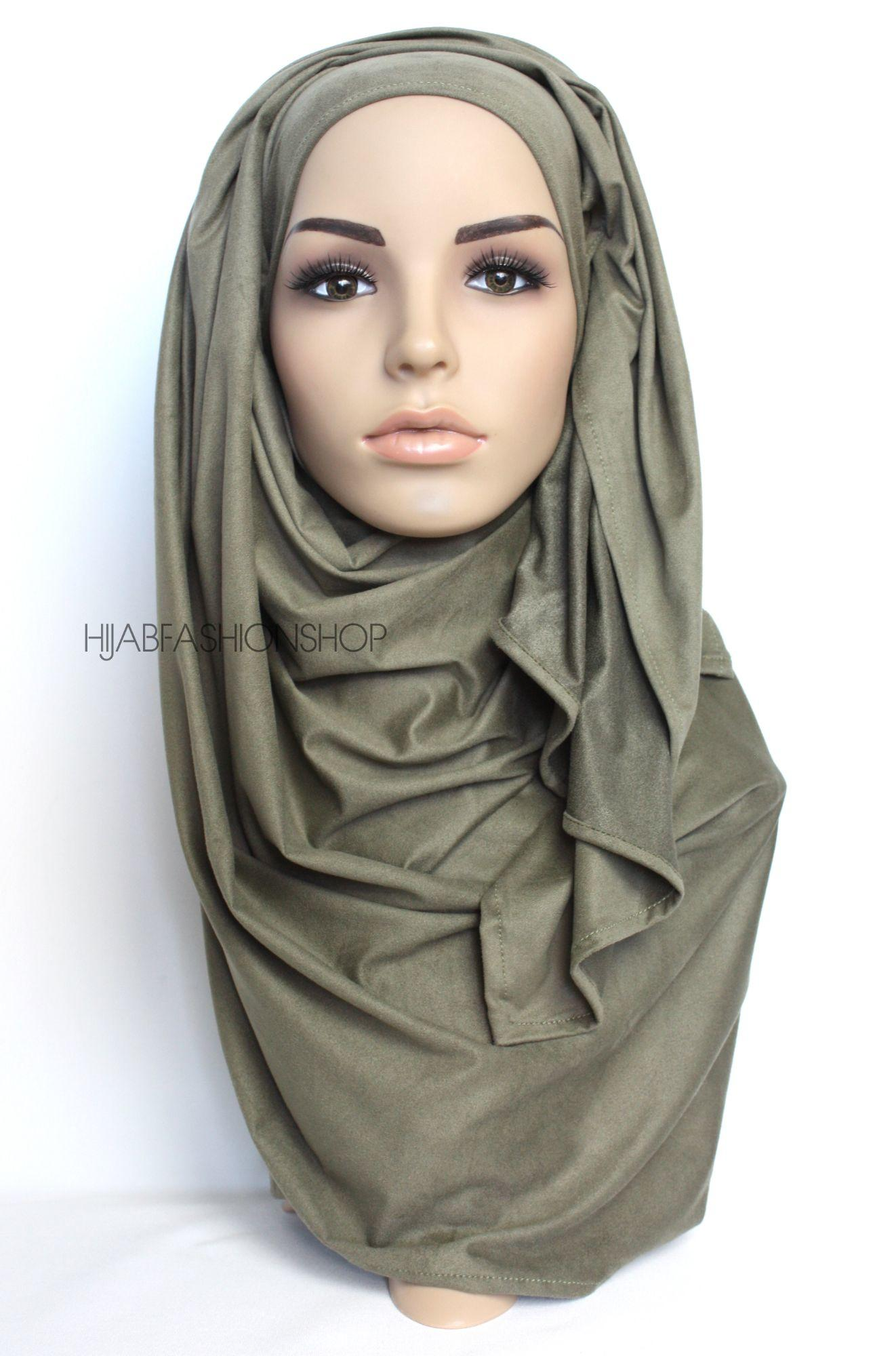olive suede hijab