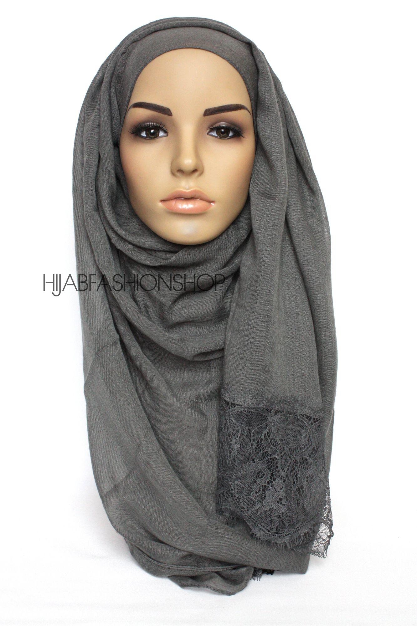 dark grey plain hijab with lace edges
