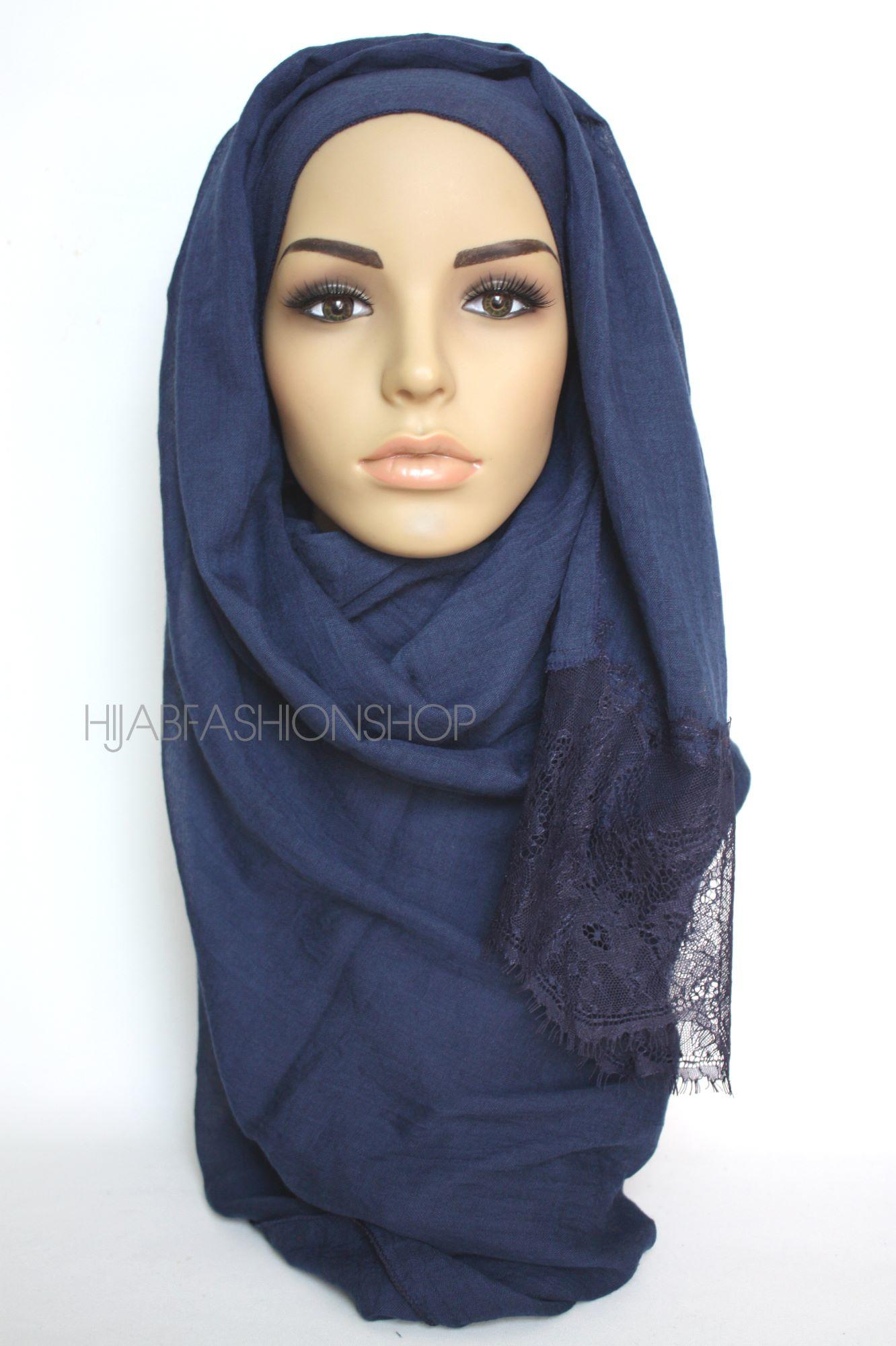 navy plain hijab with lace edges