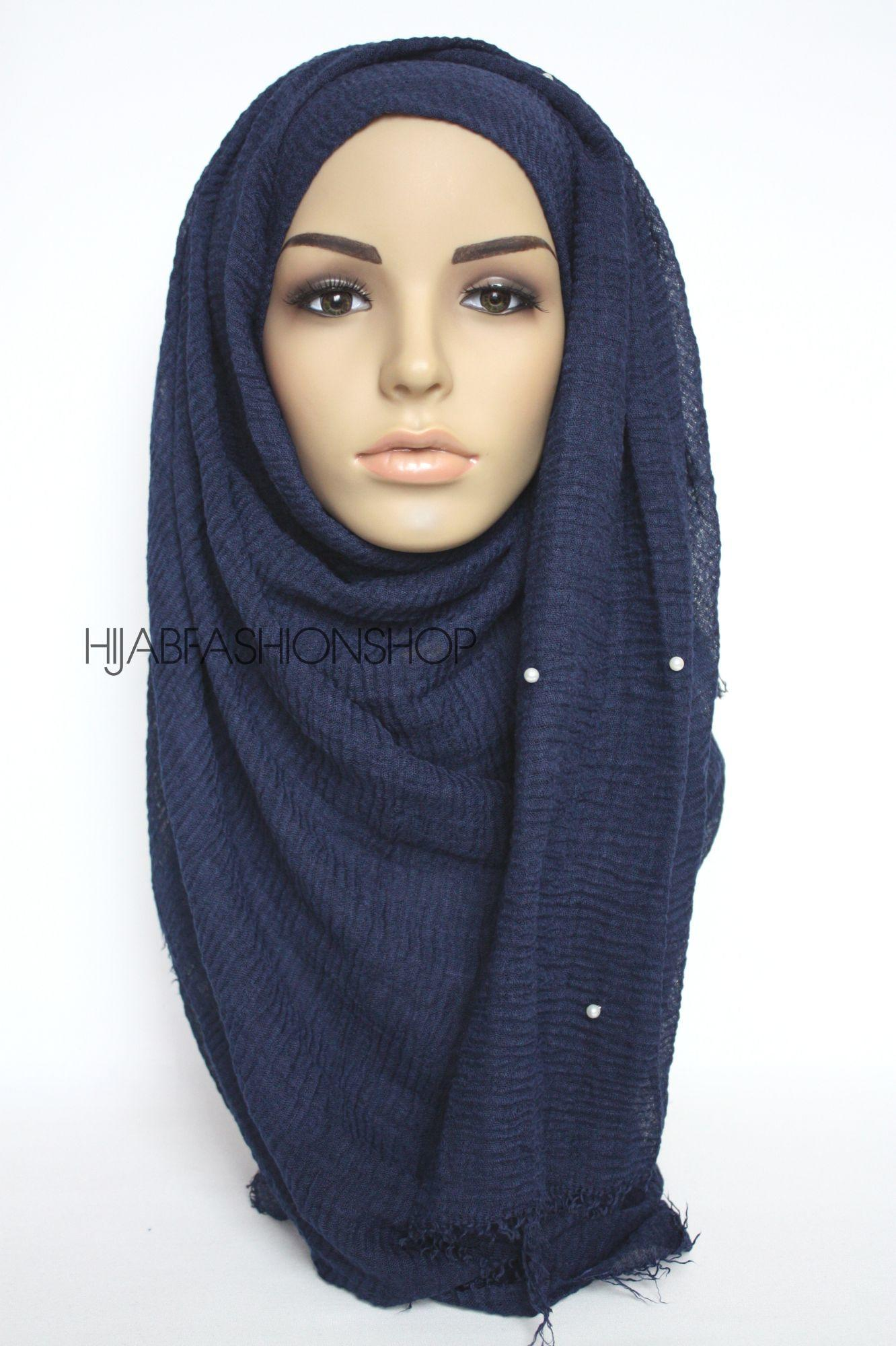 navy crimp crinkle hijab with pearls