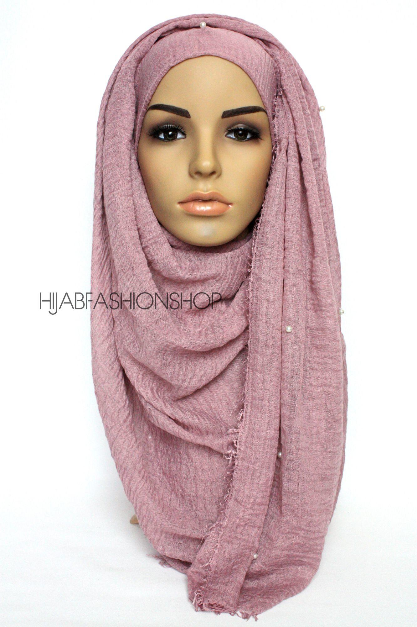 mauve crimp crinkle hijab with pearls