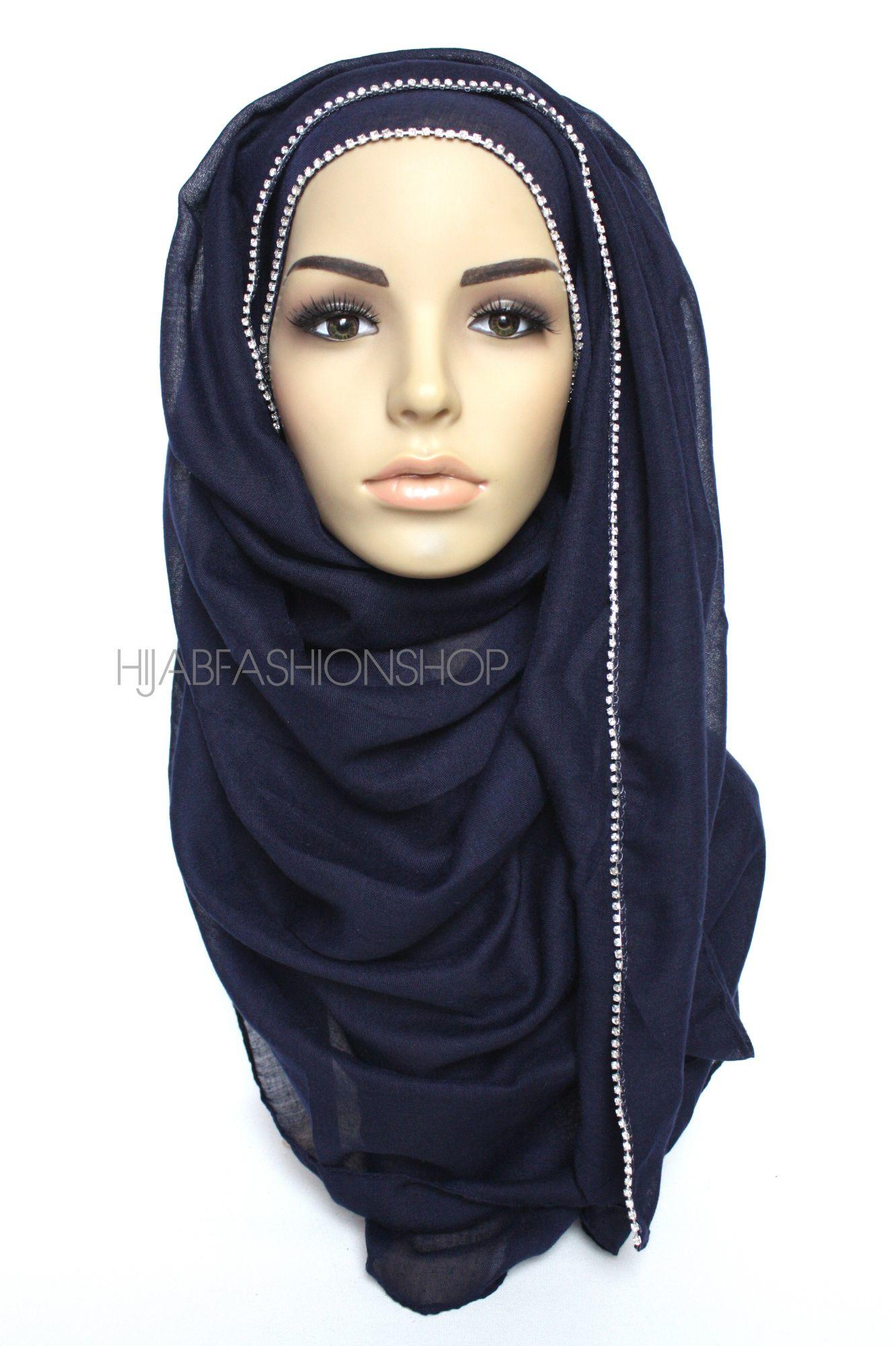 navy plain hijab with clear crystal line on one longer edge