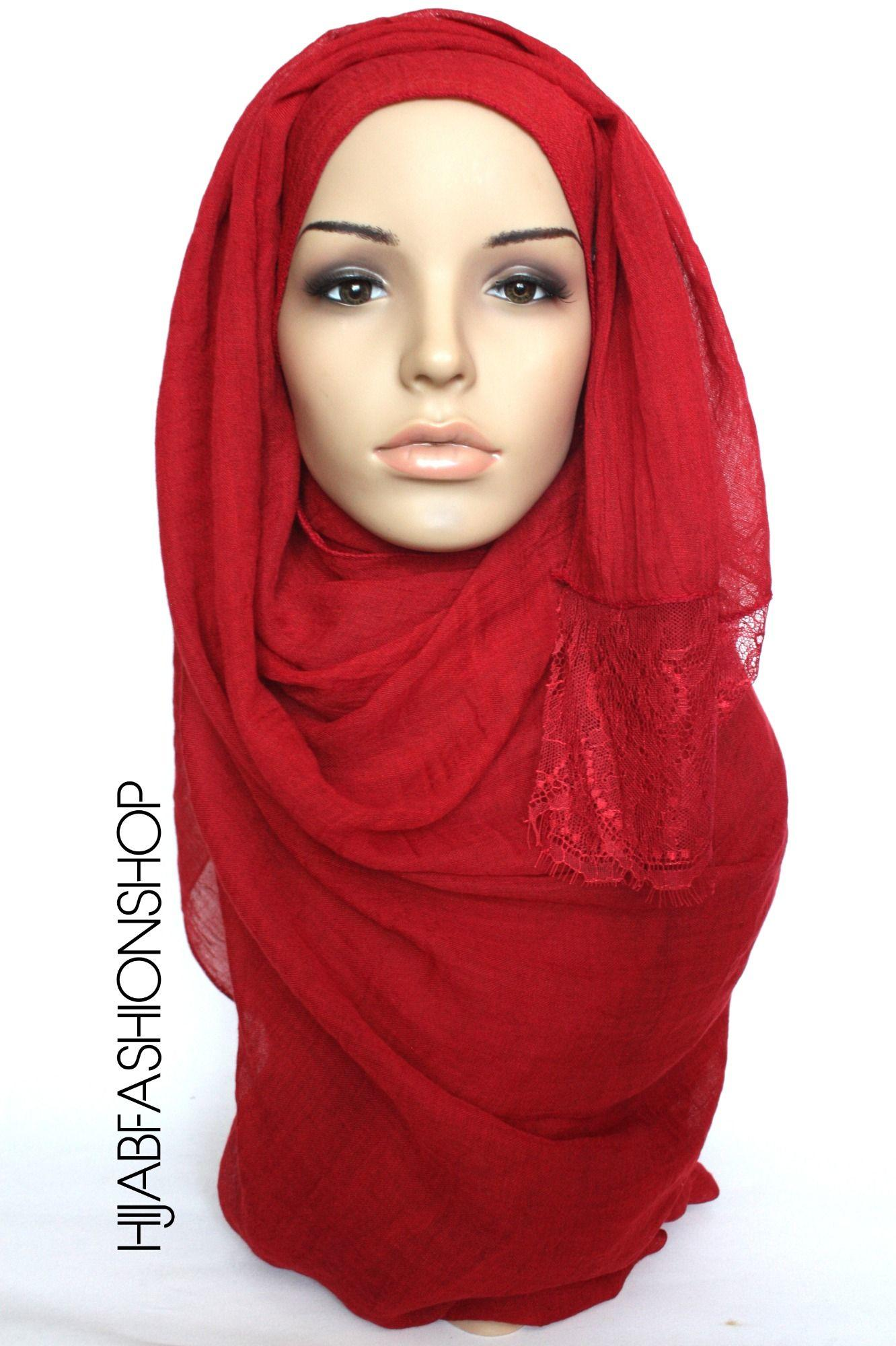 deep red plain hijab with lace edges