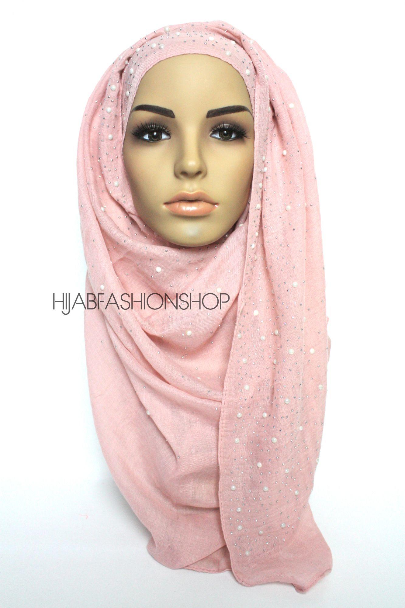 baby pink hijab with silver studs and pearls