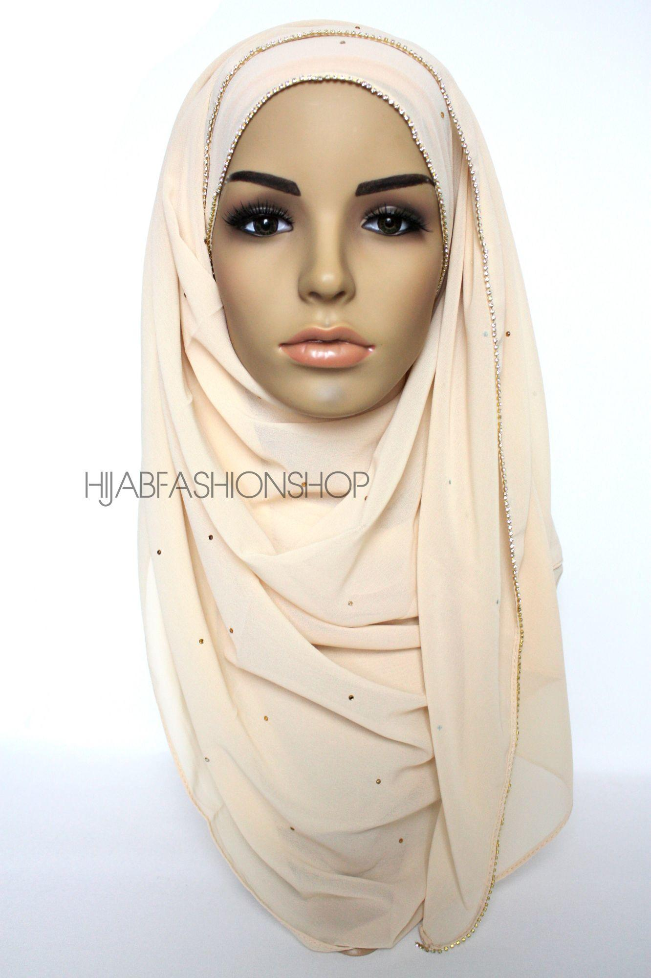 cream chiffon hijab with clear crystal line on longer edge