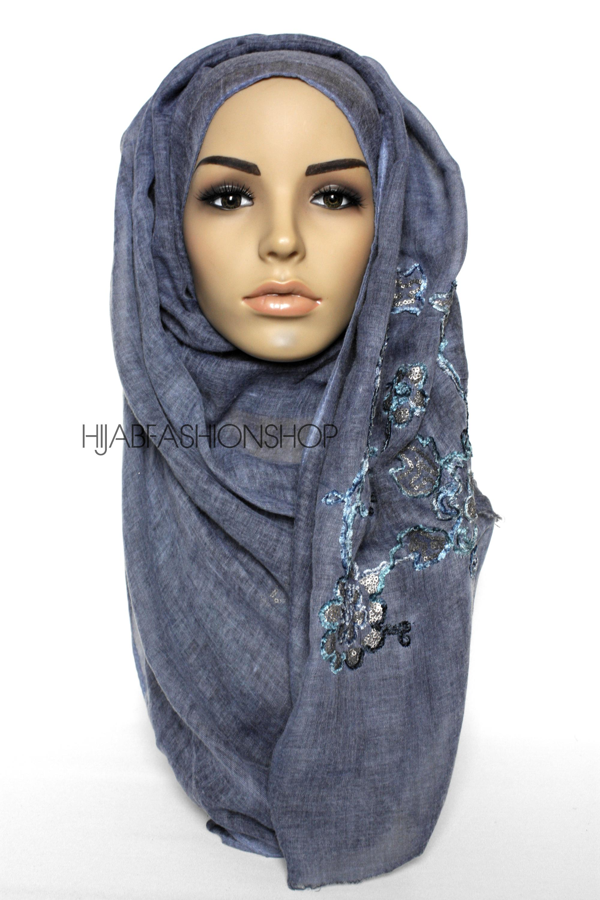 denim linen look hijab with floral velvet embroidery and sequins