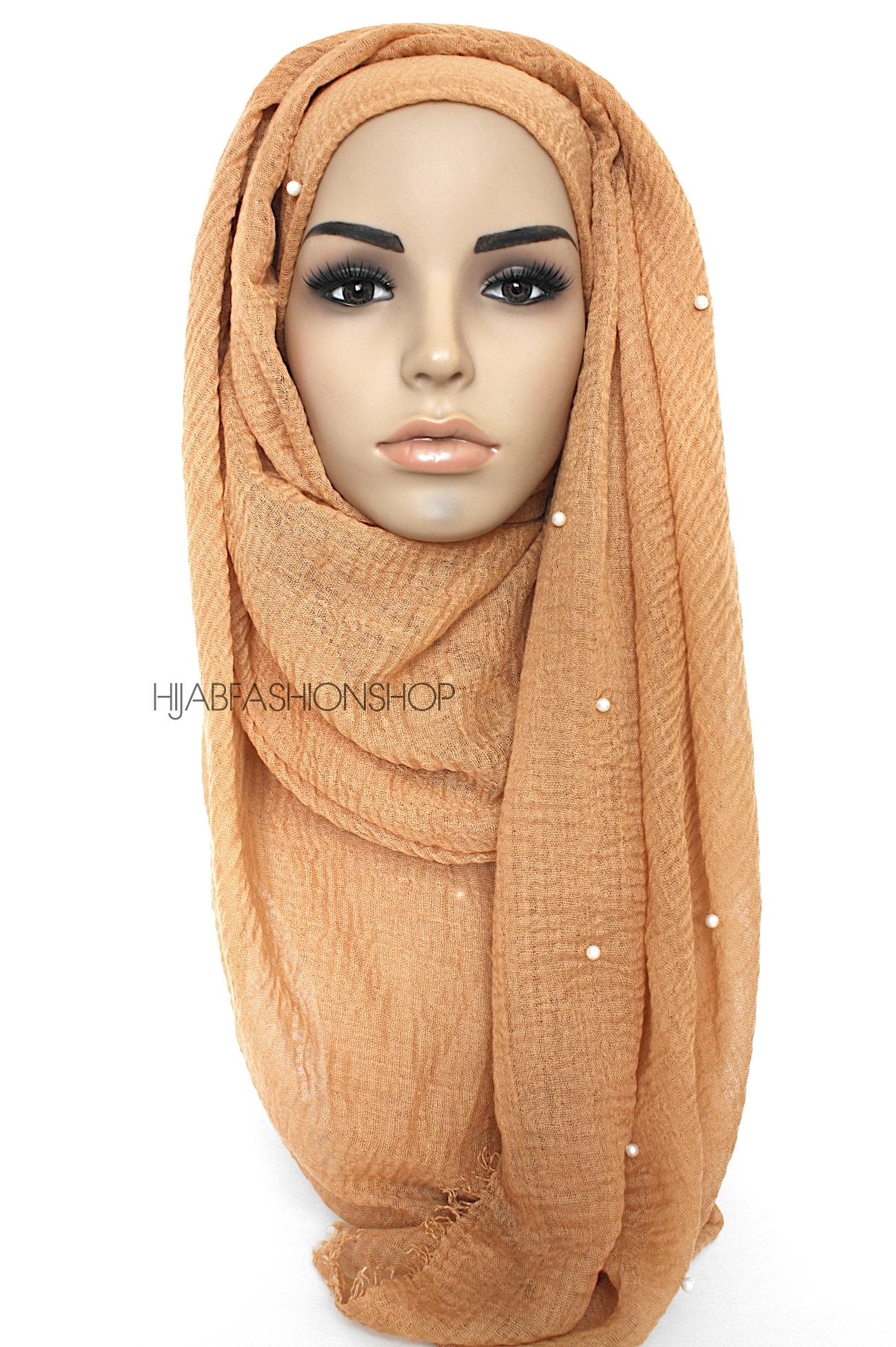 camel crimp crinkle hijab with pearls
