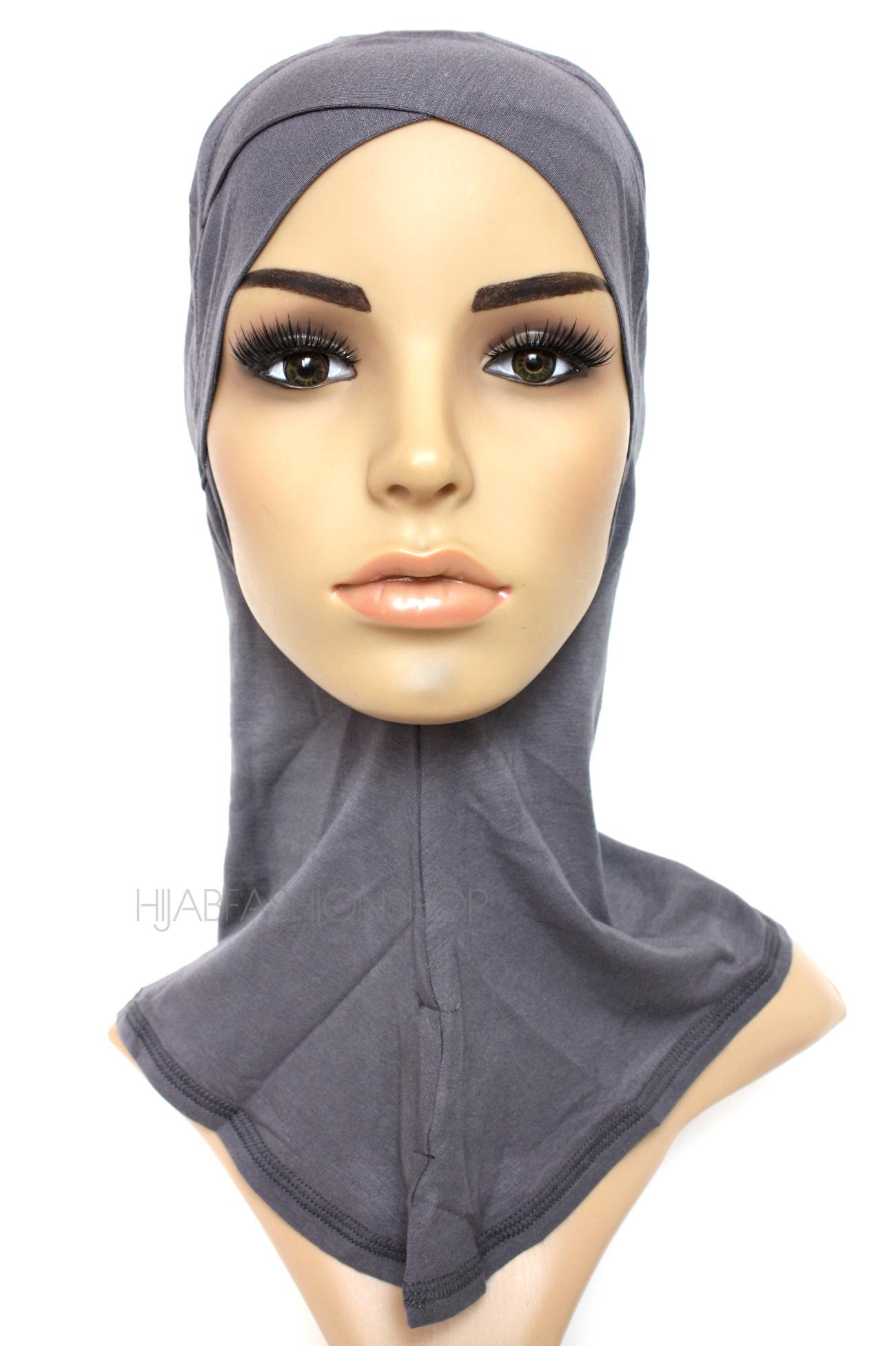 slate full hijab underscarf with criss cross peak