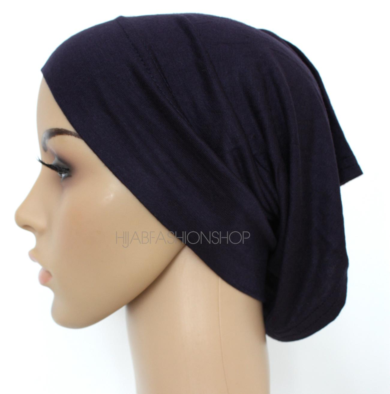 navy tube hijab cap