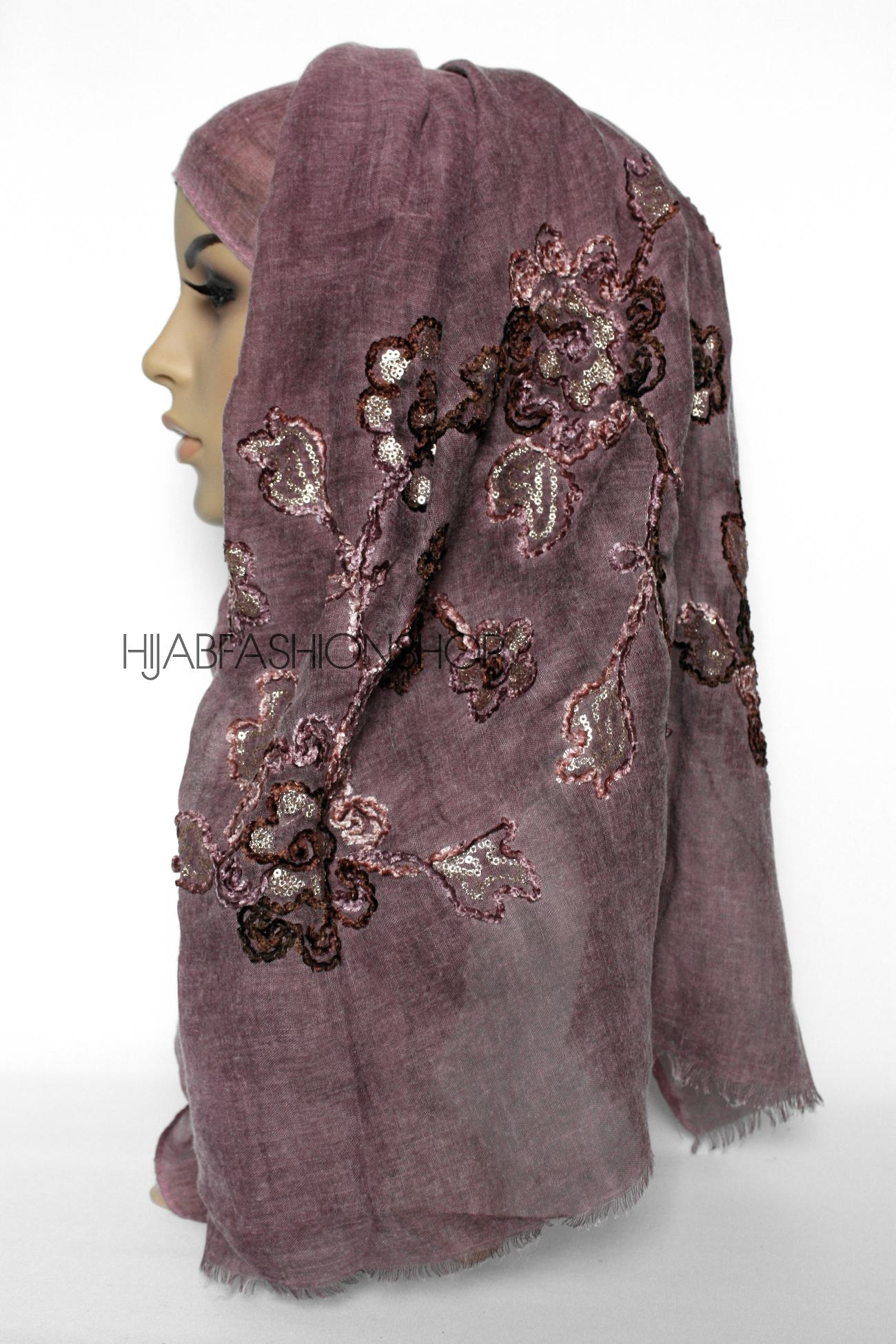 maroon linen look hijab with floral velvet embroidery and sequins side view