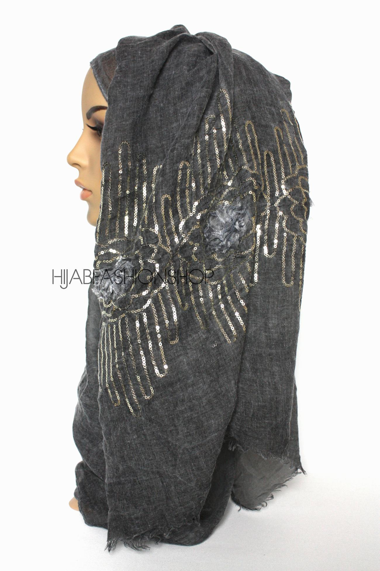 charcoal linen look hijab with frayed flower detail and gold sequins side view