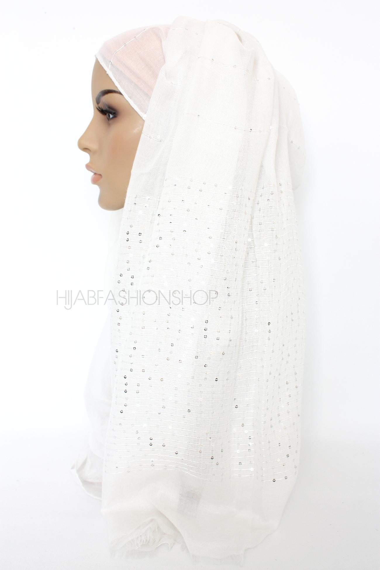 ivory hijab with silver sequins on shorter edges side view