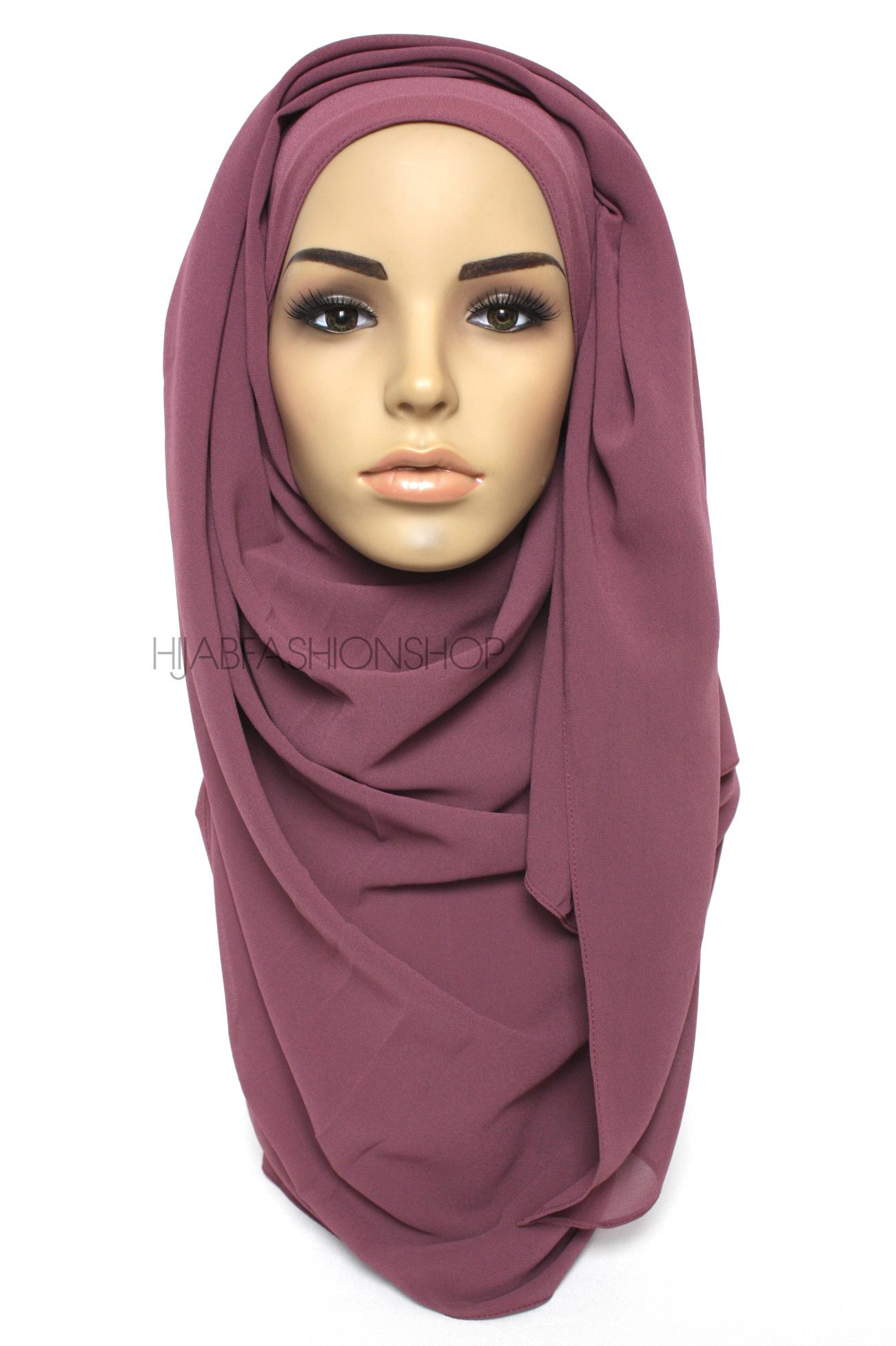 dusty purple plain chiffon hijab