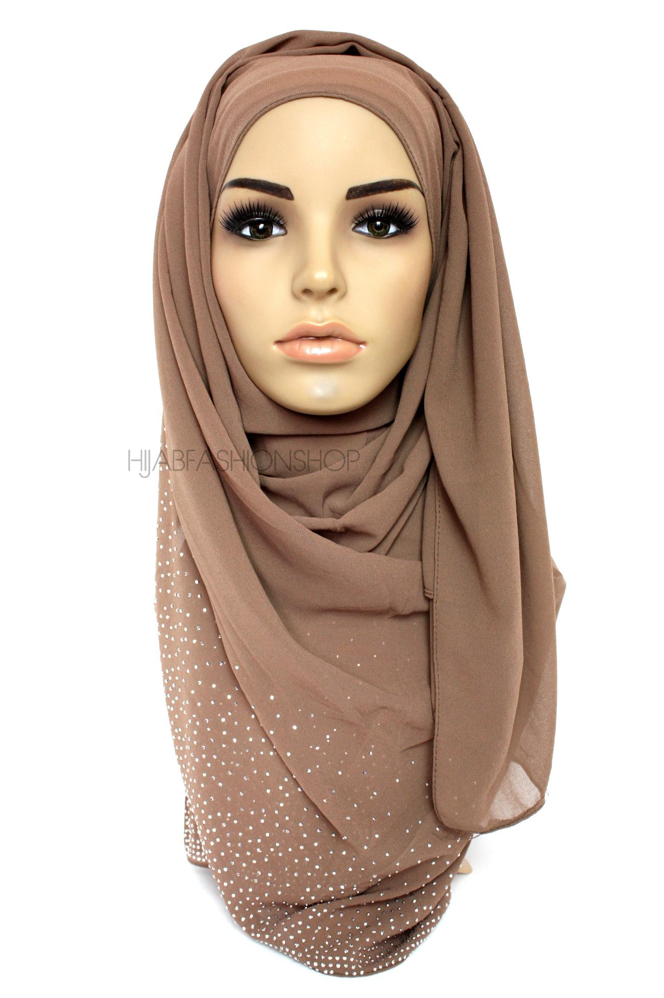 coffee studded chiffon hijab