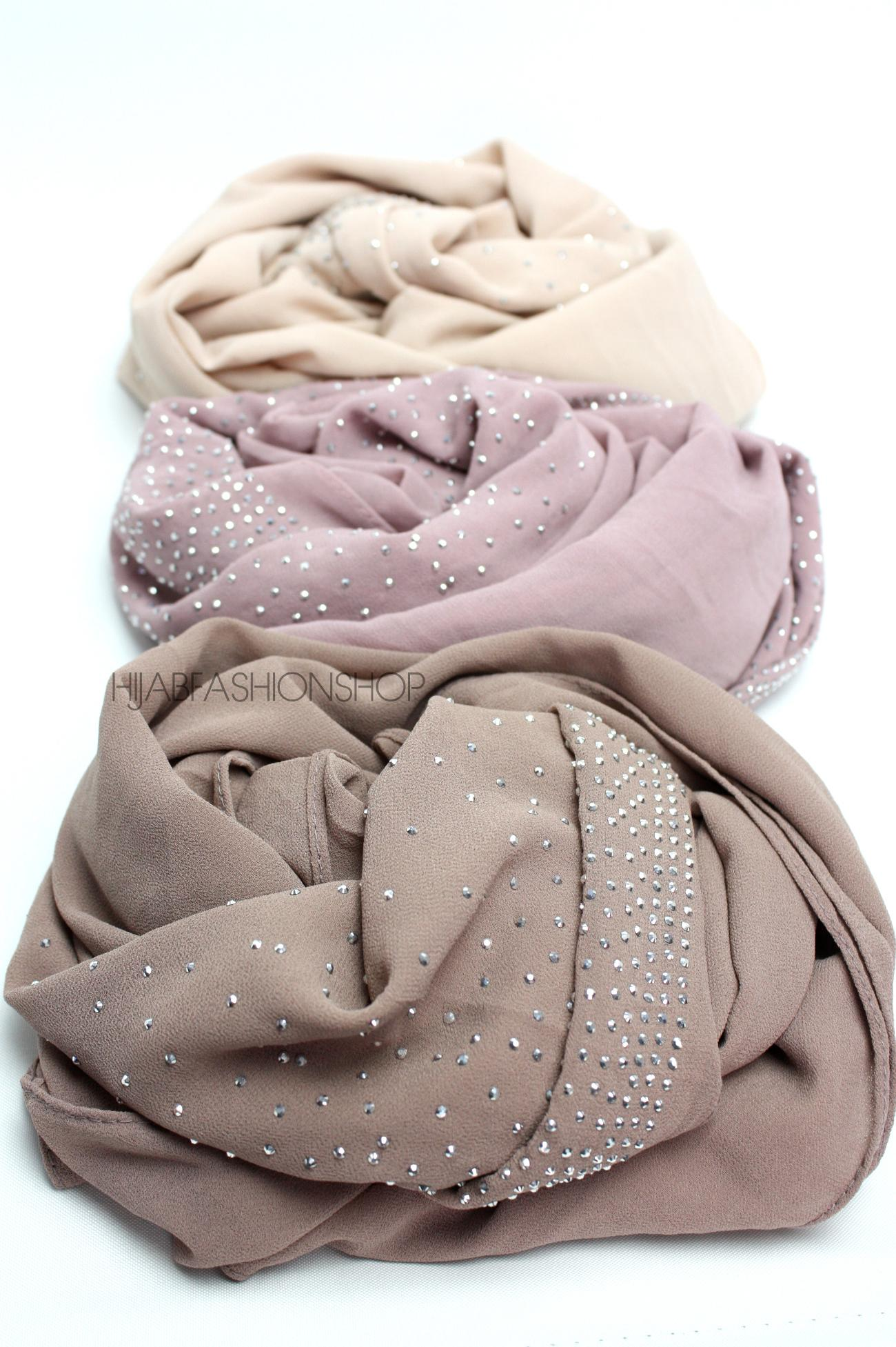 Light cappuccino studded chiffon hijab 3