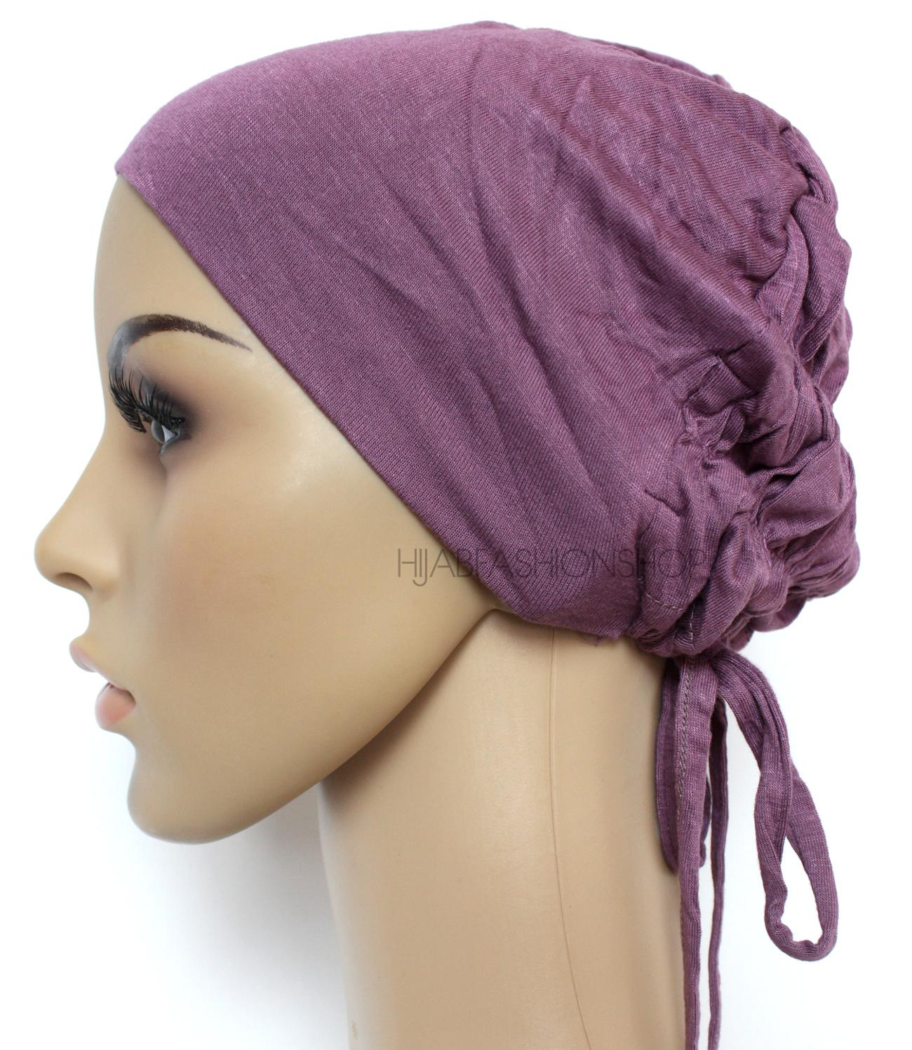 dusty purple ruched back string bonnet