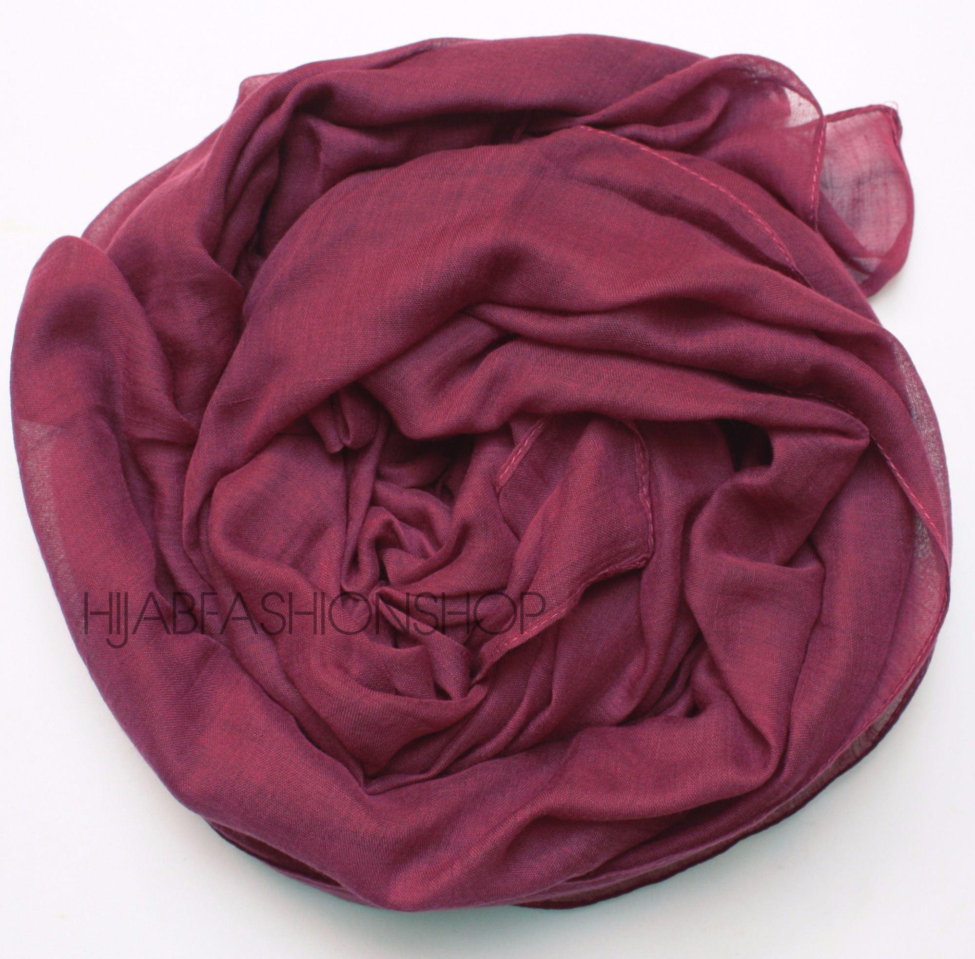 dark magenta plain viscose hijab