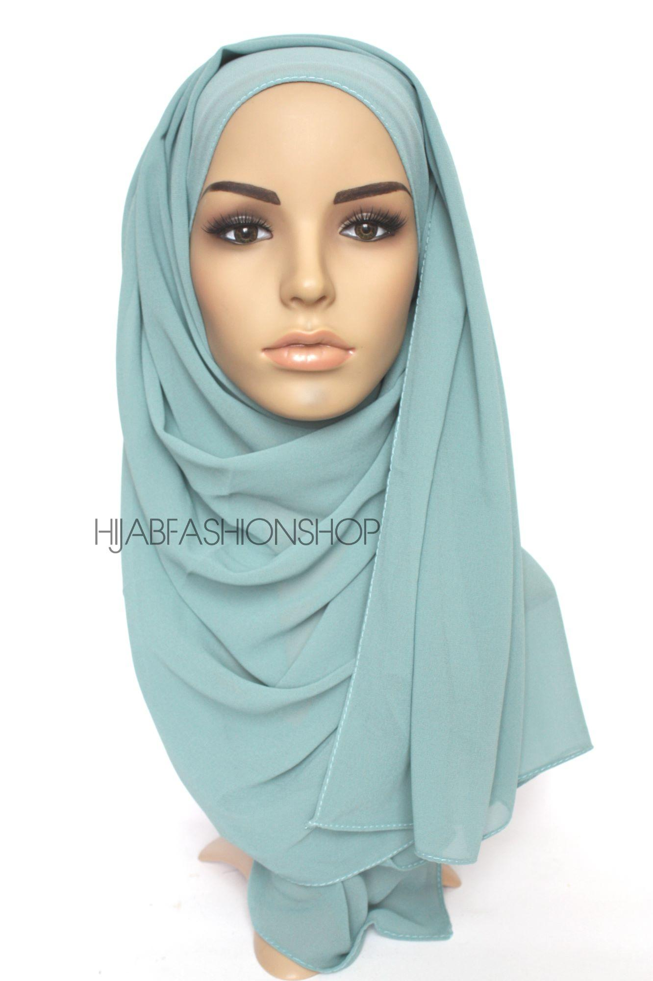 dusty mint crepe chiffon hijab