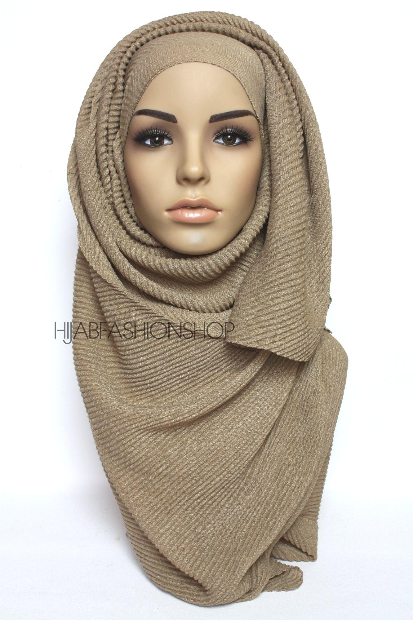 khaki beige pleated hijab