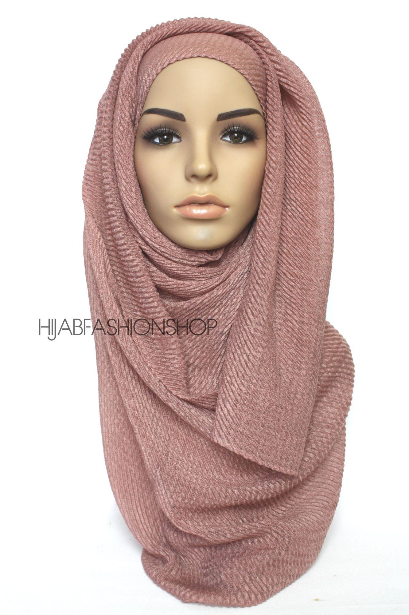 nude rose pleated hijab
