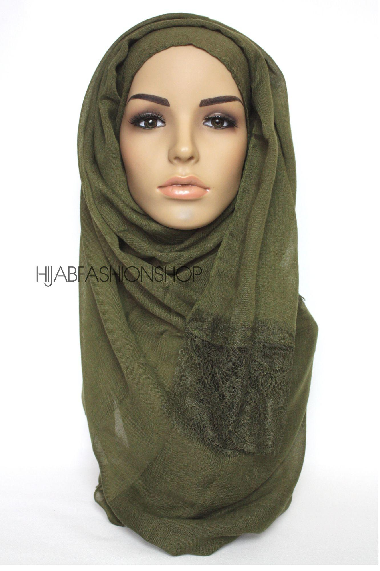 forest green plain hijab with lace edges