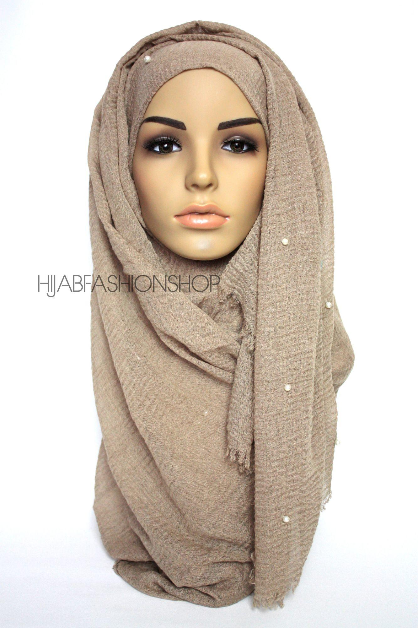 taupe crimp crinkle hijab with pearls