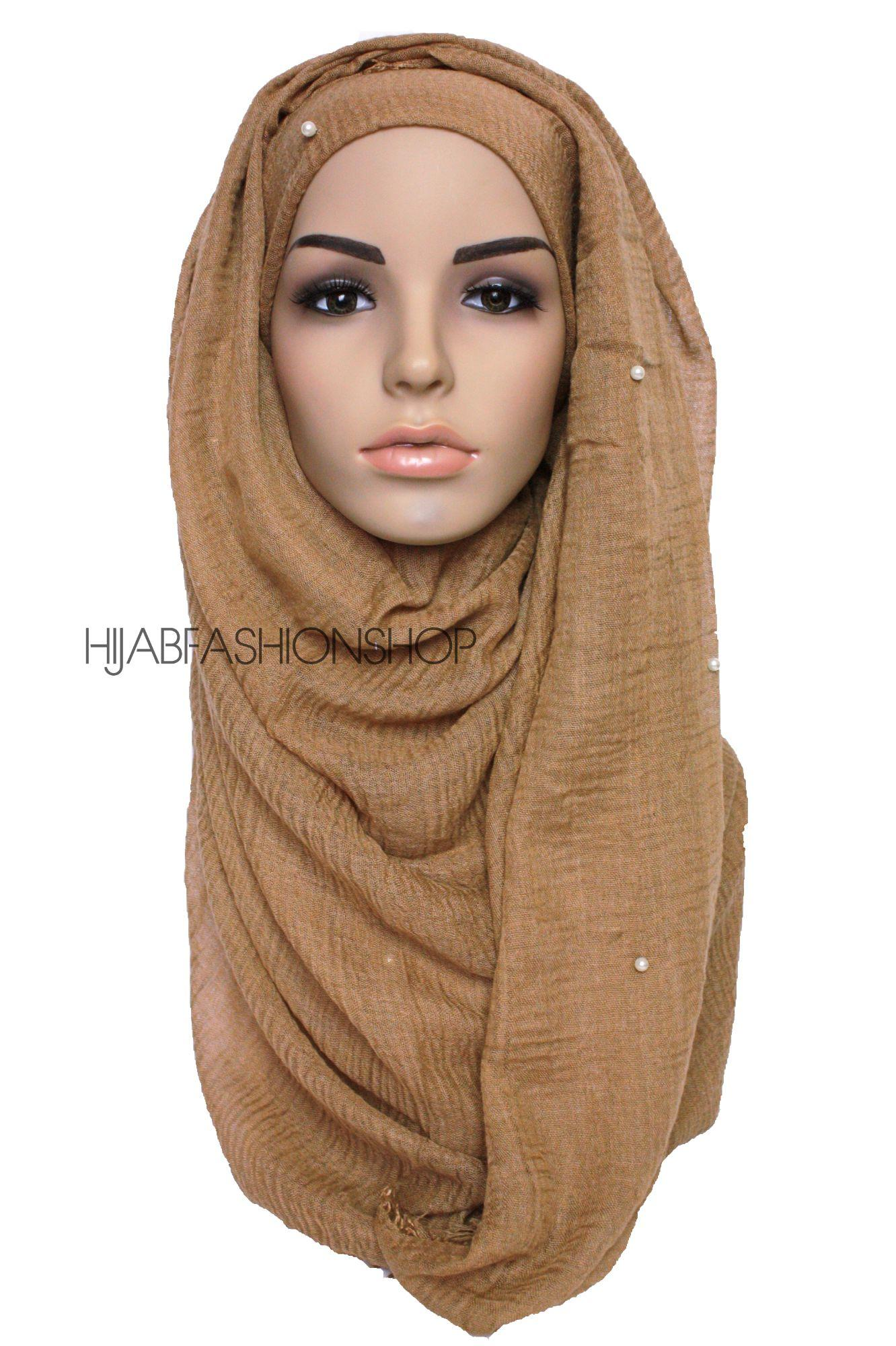 toffee crimp crinkle hijab with pearls
