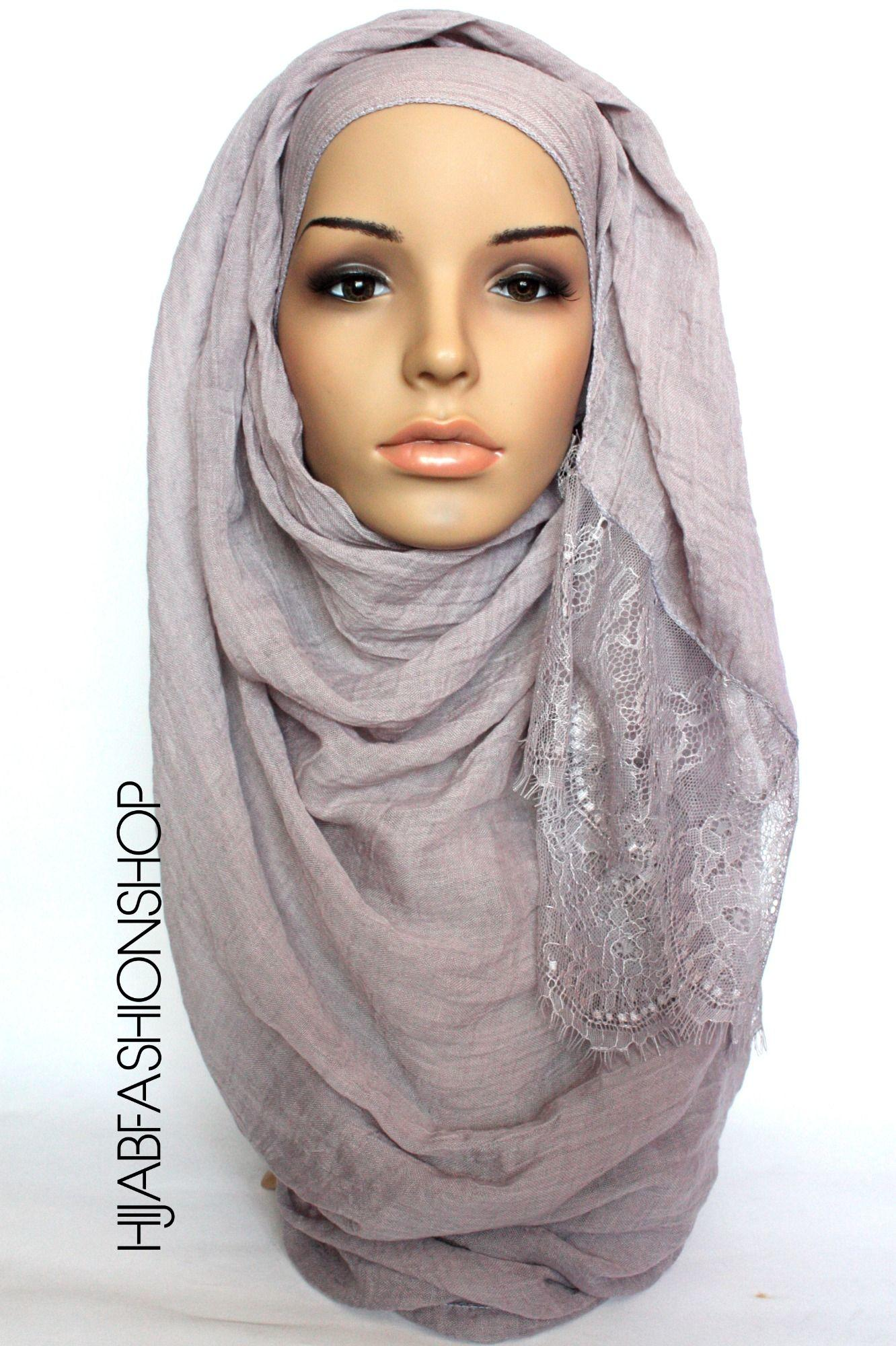 grey plain hijab with lace edges