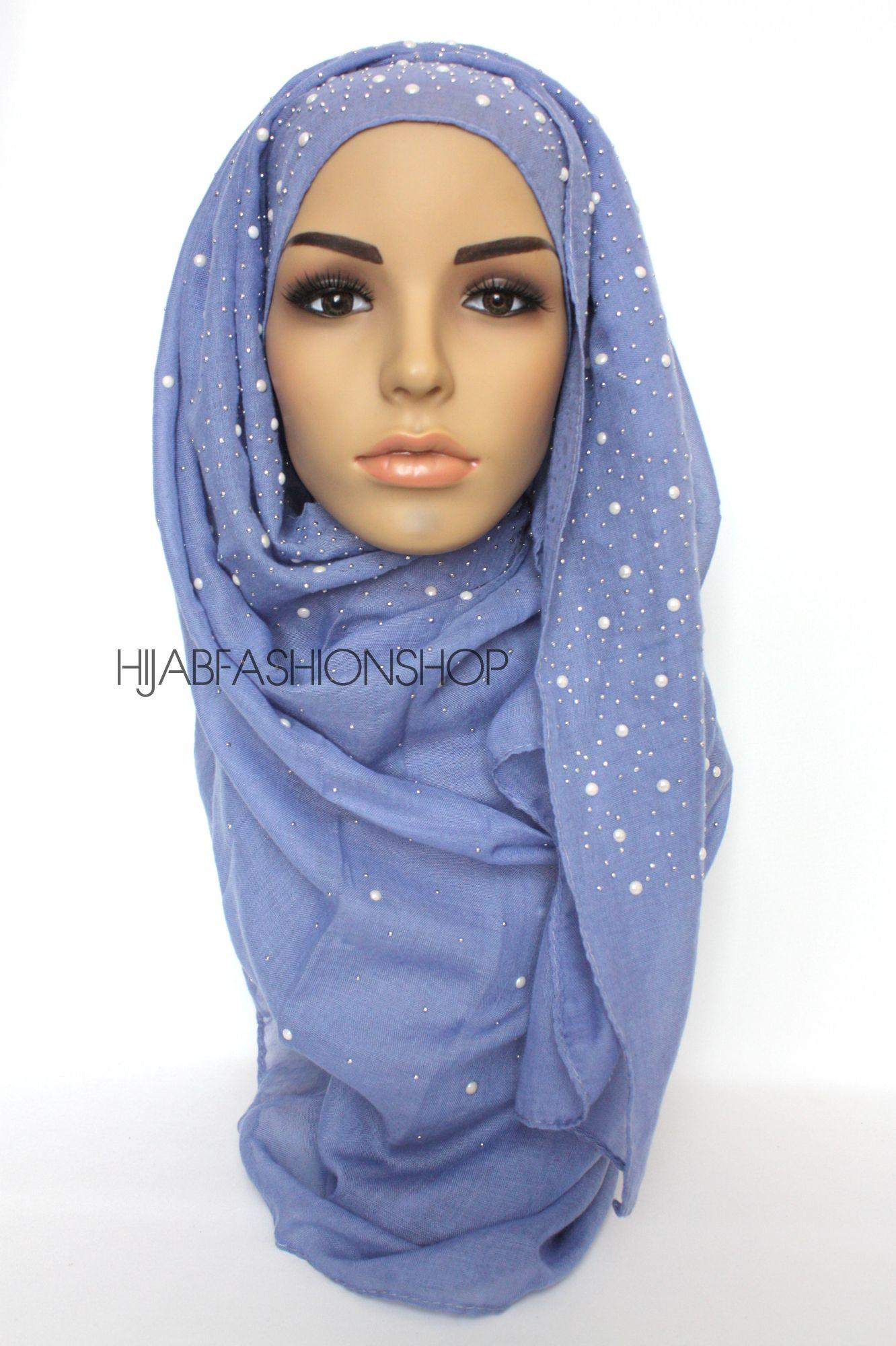 light blue hijab with silver studs and pearls