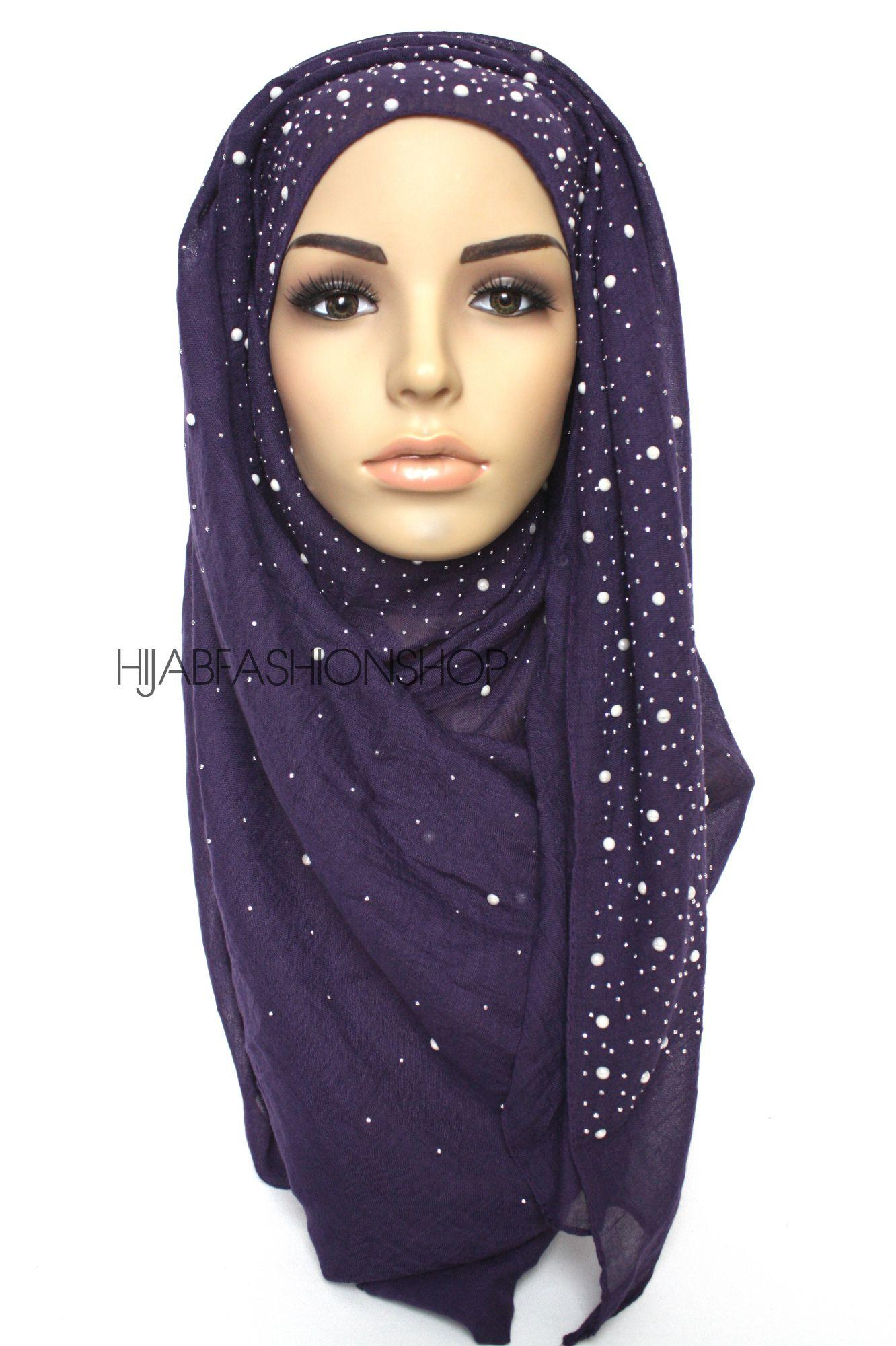plum hijab with silver studs and pearls