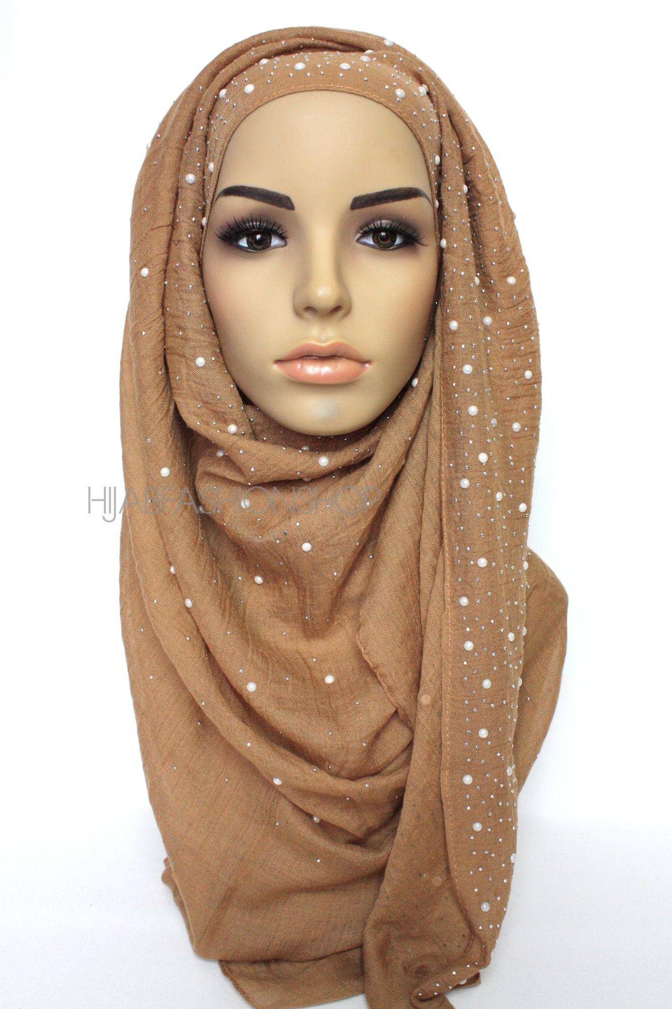 caramel hijab with silver studs and pearls