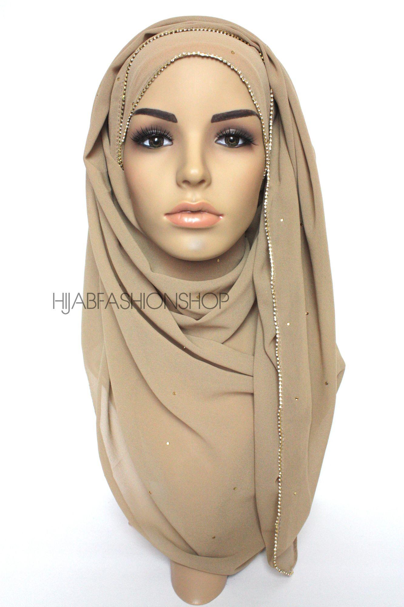 latte chiffon hijab with clear crystal line on longer edge