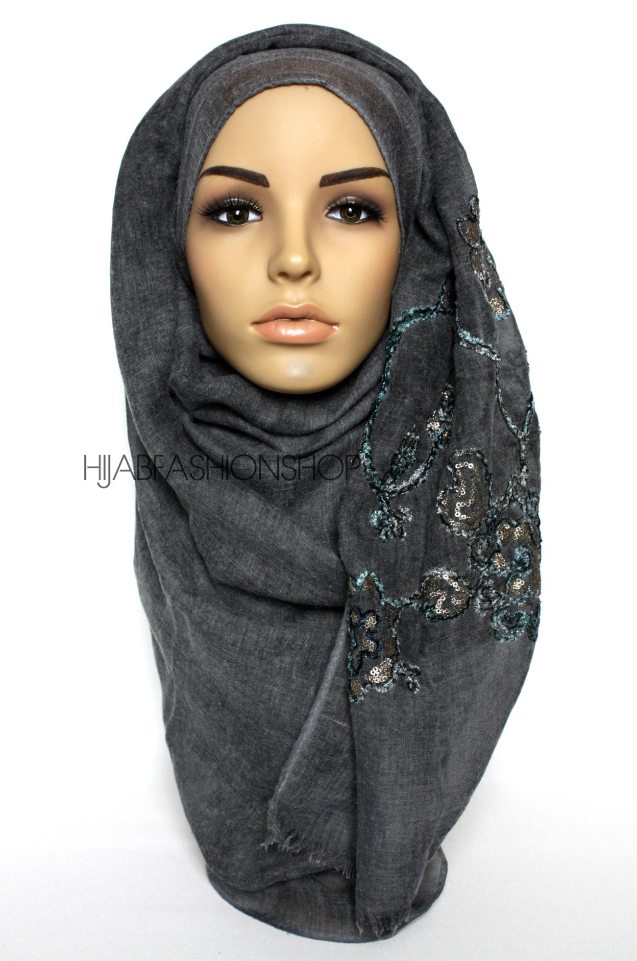 charcoal linen look hijab with floral velvet embroidery and sequins