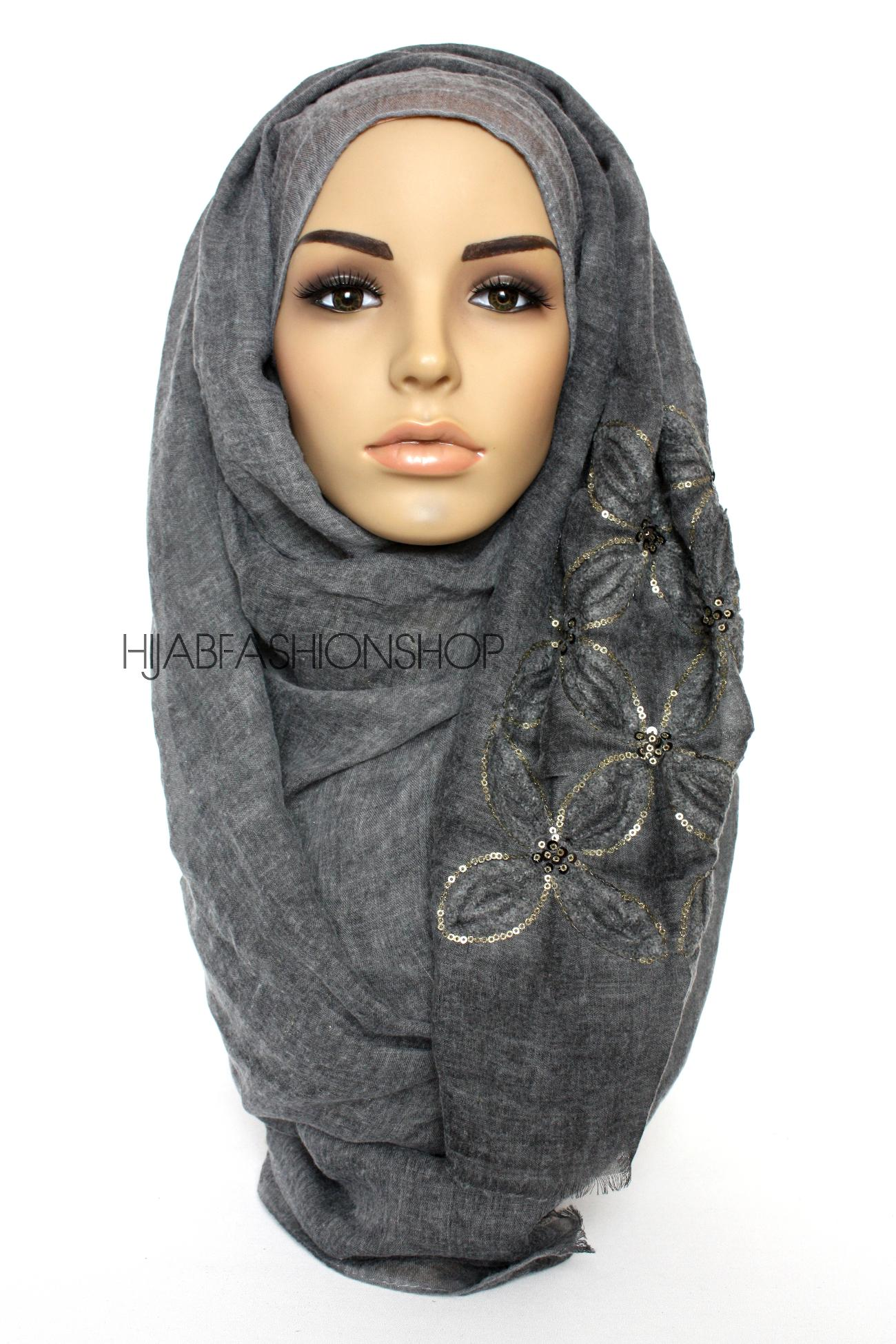 charcoal linen look hijab with lilies embroidery and sequins