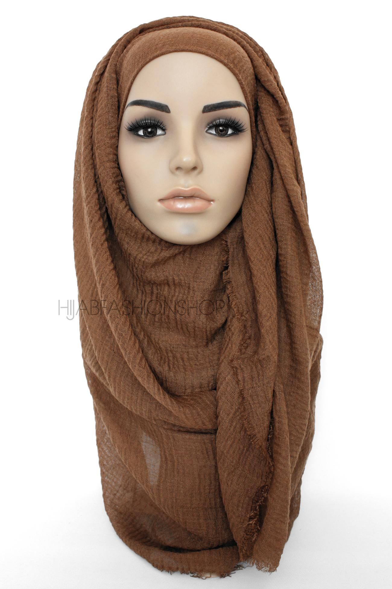 light brown crimp crinkle hijab