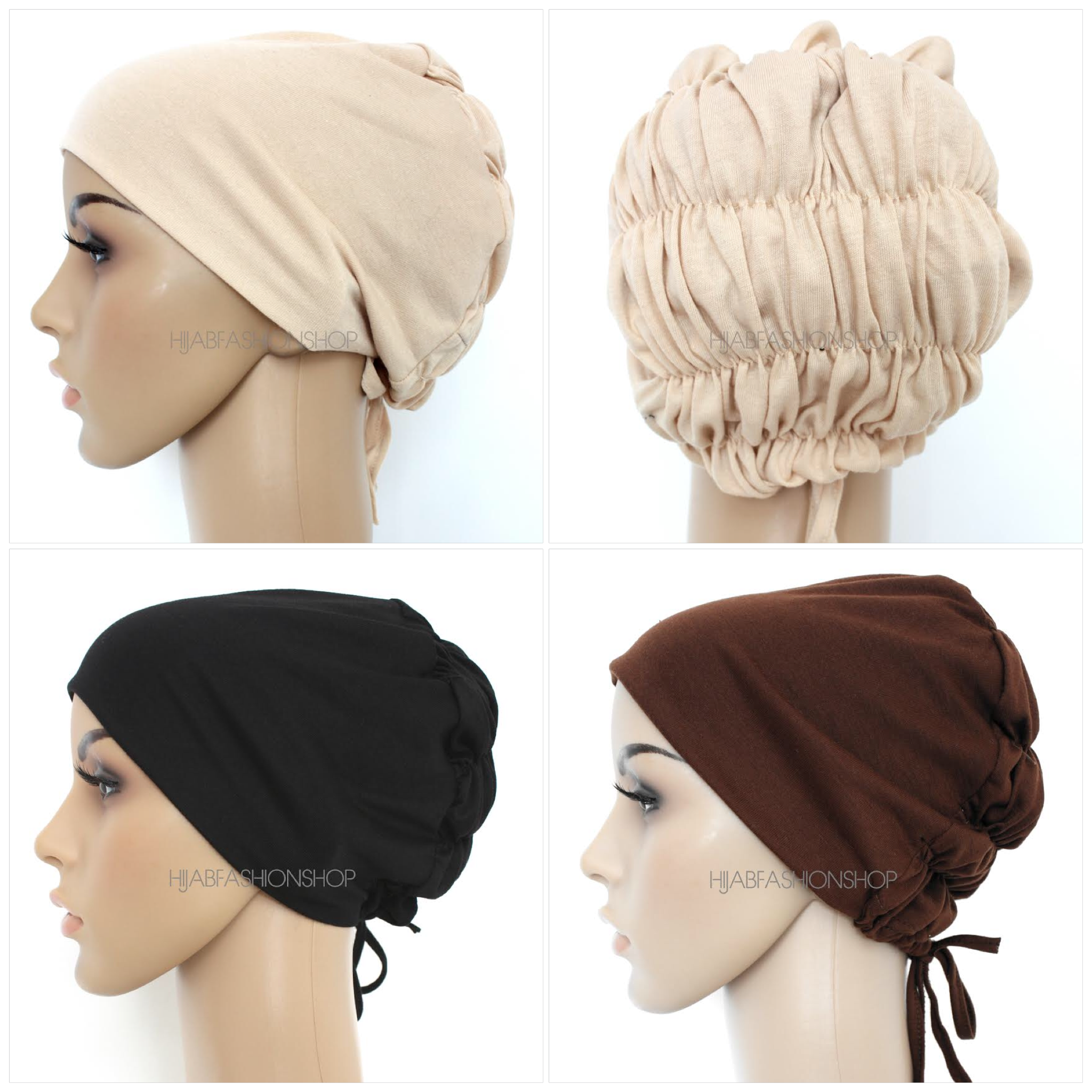 four ruched string bonnets, two nude, black and dark brown