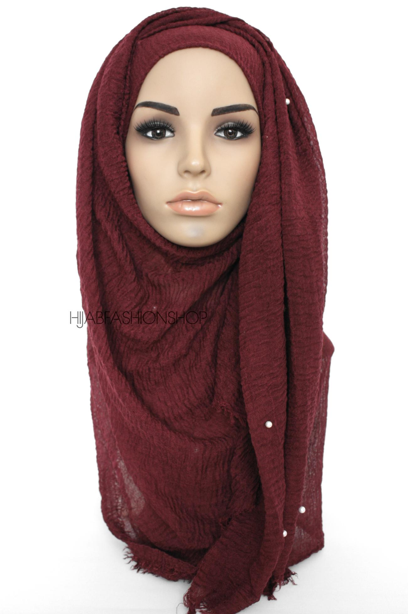 berry maroon crimp crinkle hijab with pearls