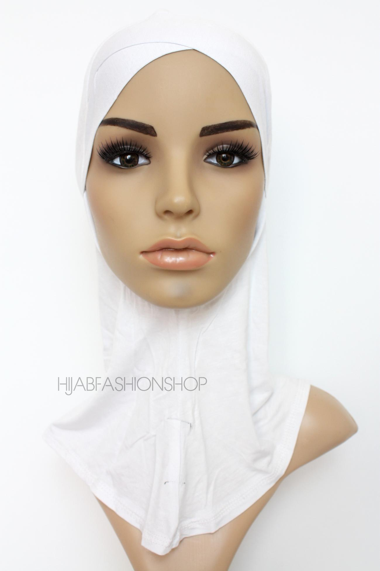 white full hijab underscarf with criss cross peak