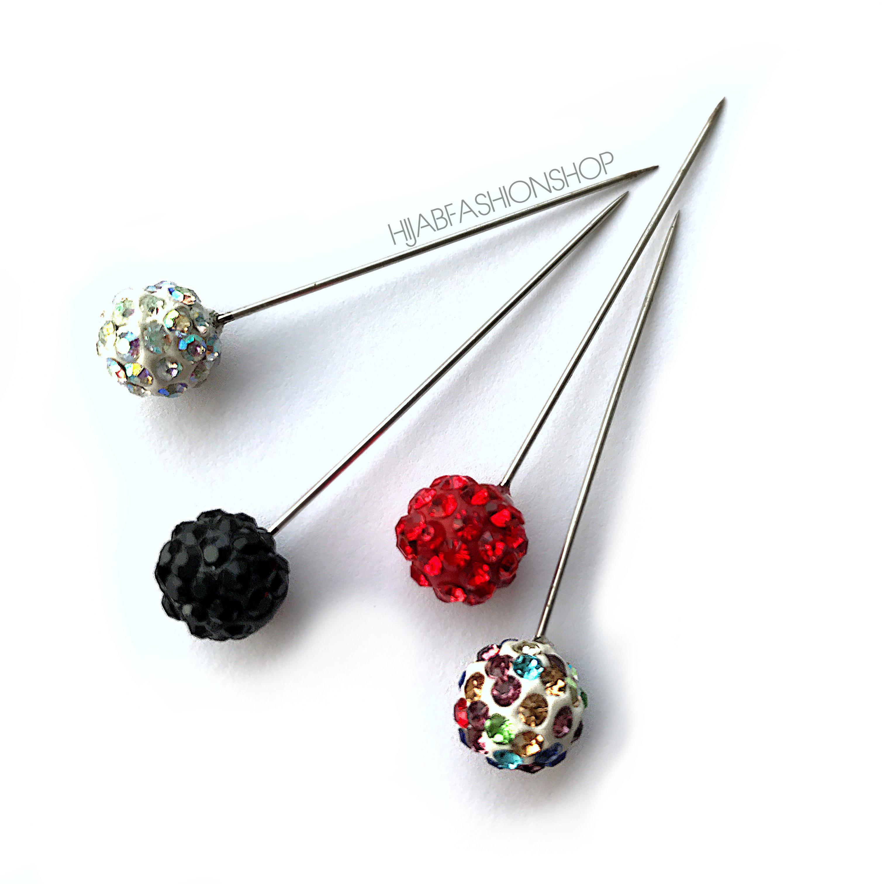 4 shamballa crystal hijab pins in variety of colours