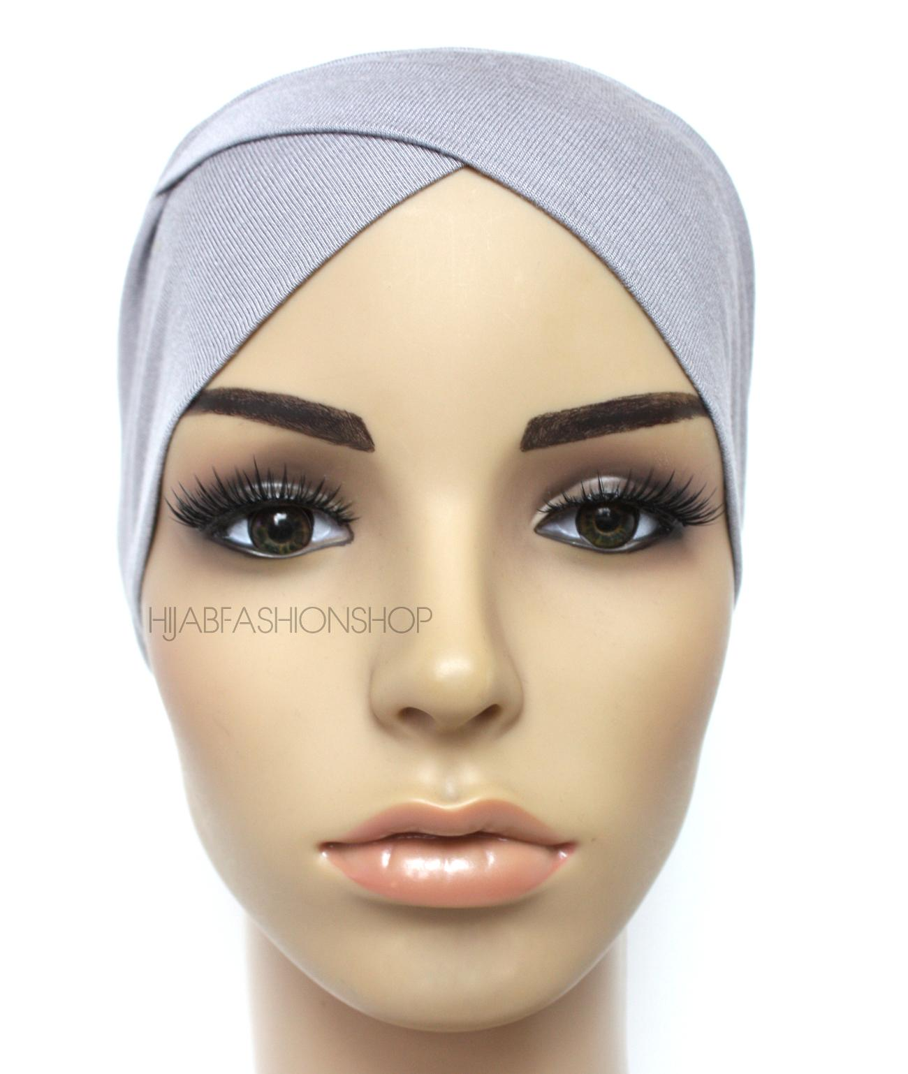 grey crossover hijab cap
