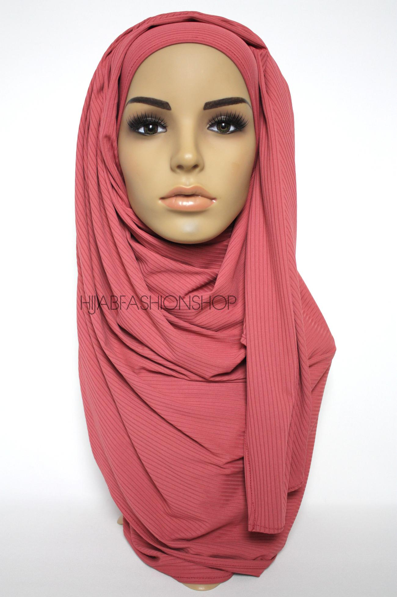 watermelon ribbed jersey hijab