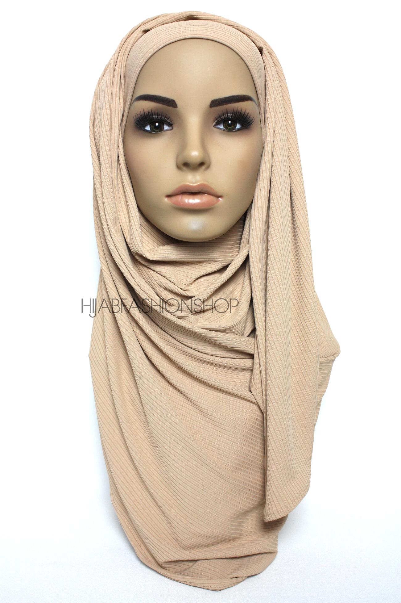 pale nude ribbed jersey hijab